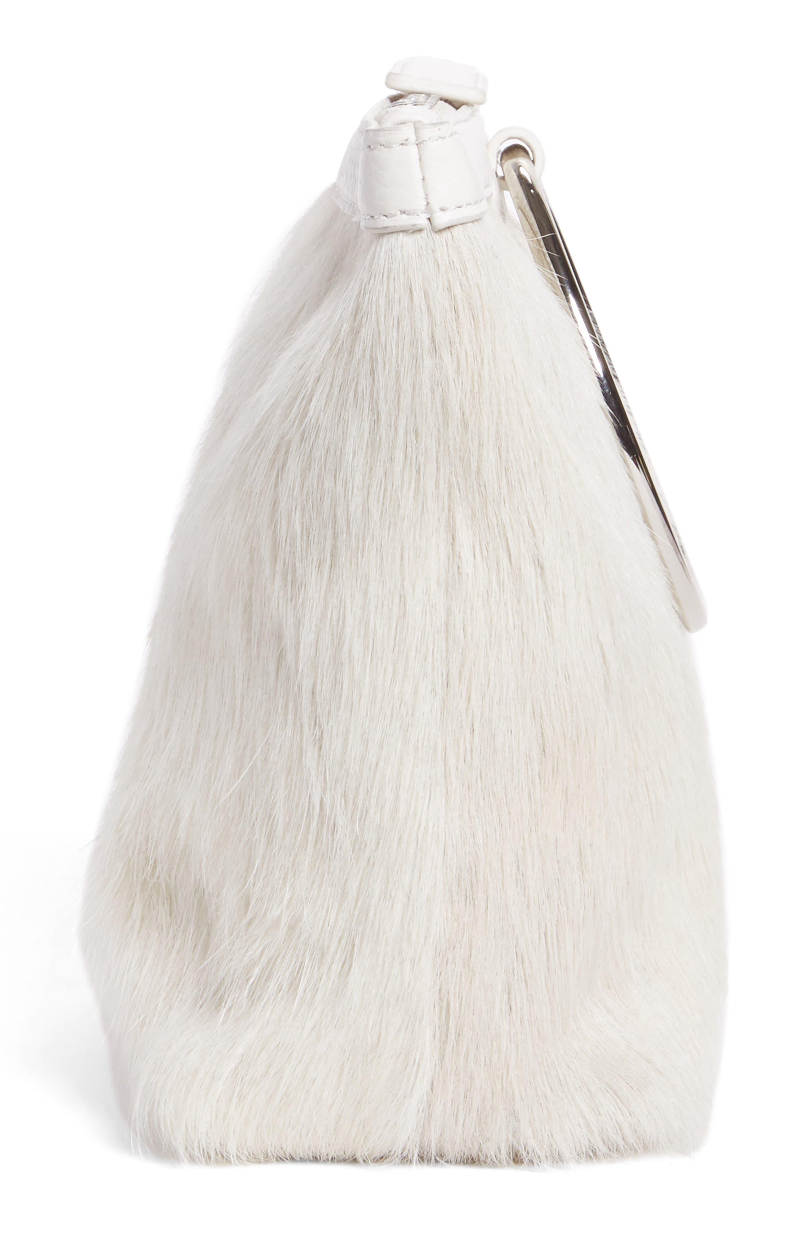 Genuine Calf Hair Ring Clutch,                             Alternate thumbnail 4, color,                             Off White