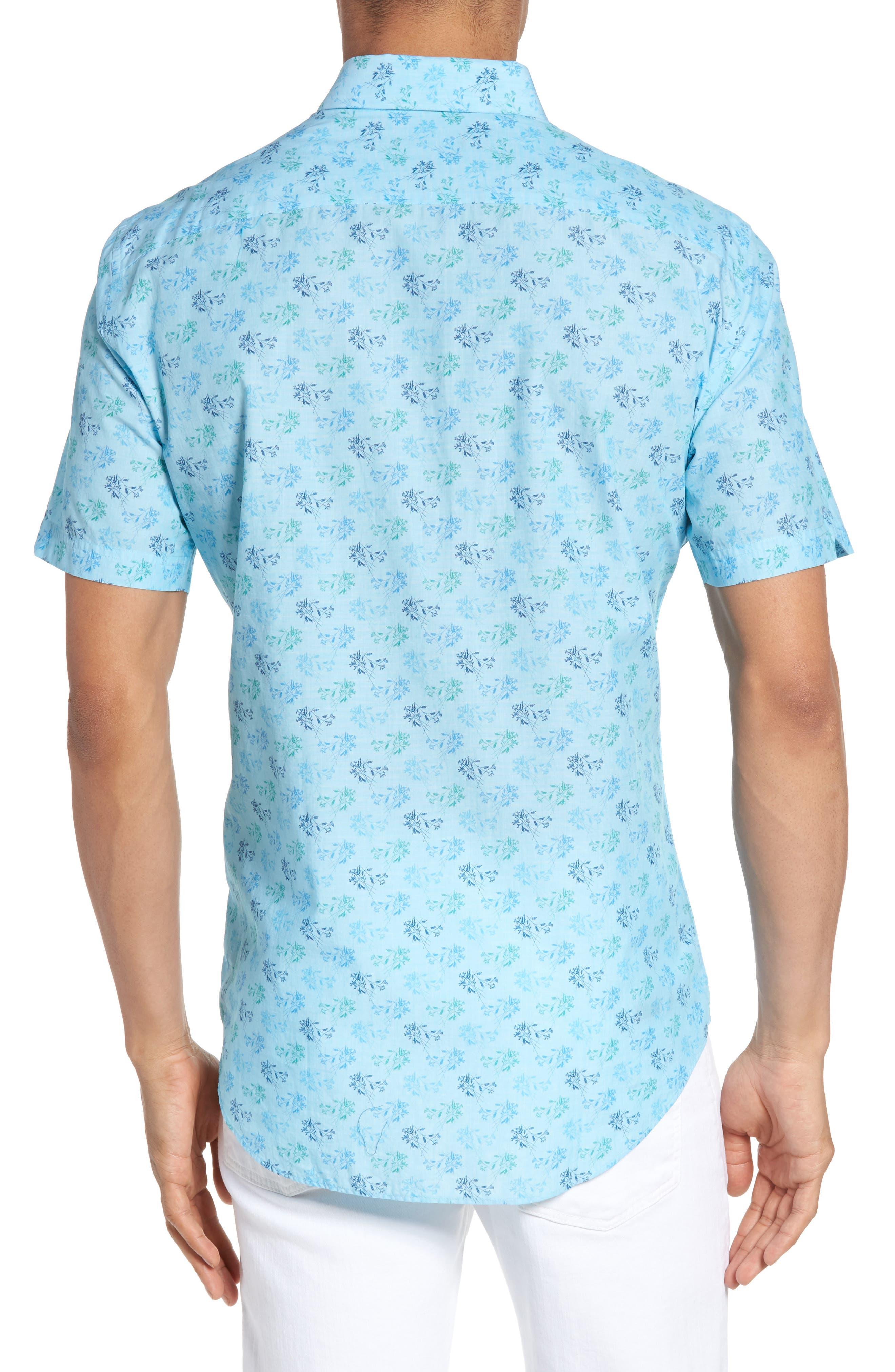 Cobb Print Sport Shirt,                             Alternate thumbnail 2, color,                             Turquoise