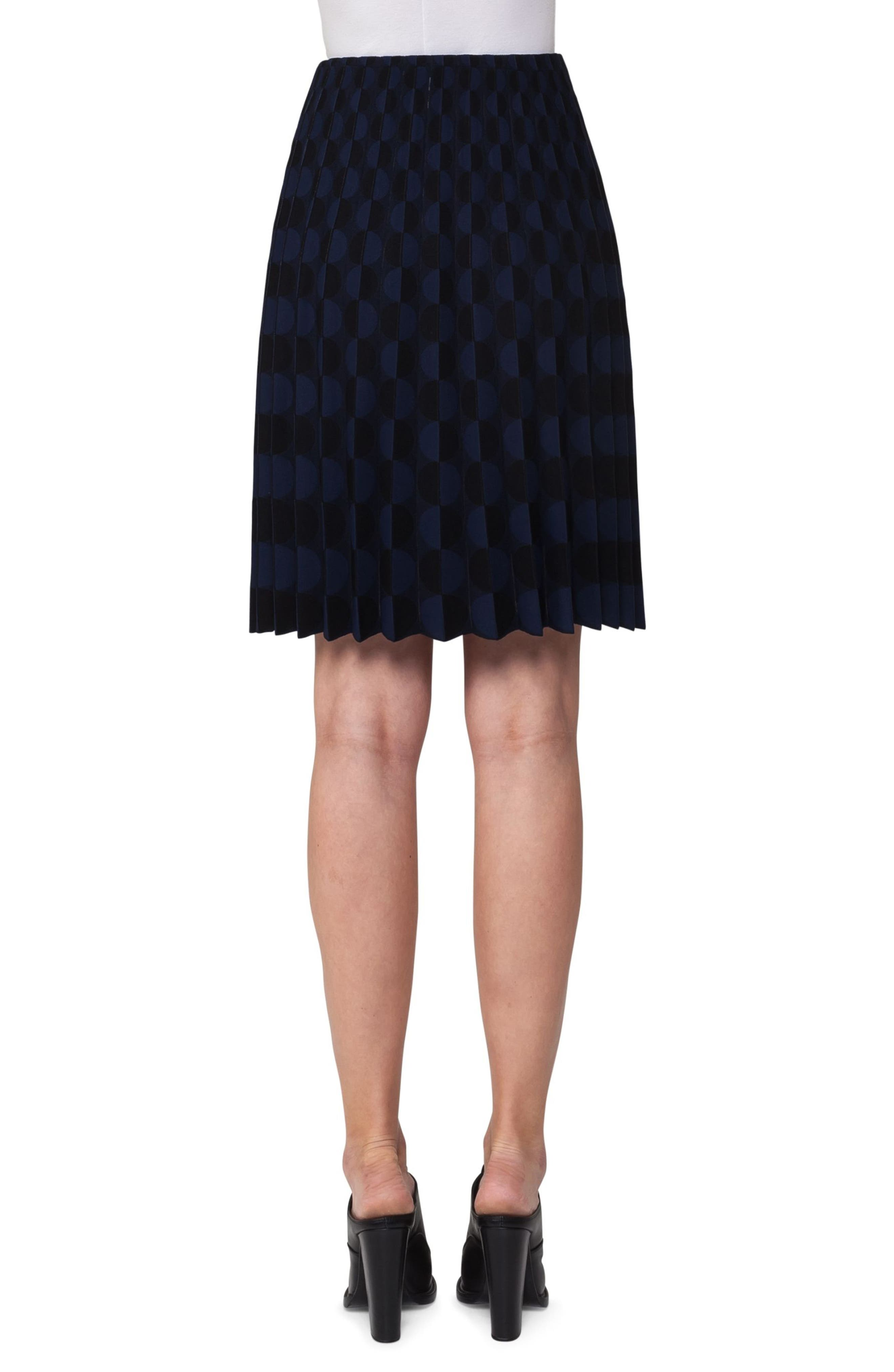 Contrast Dot Knit Pleated Skirt,                             Alternate thumbnail 2, color,                             Black/ Blue