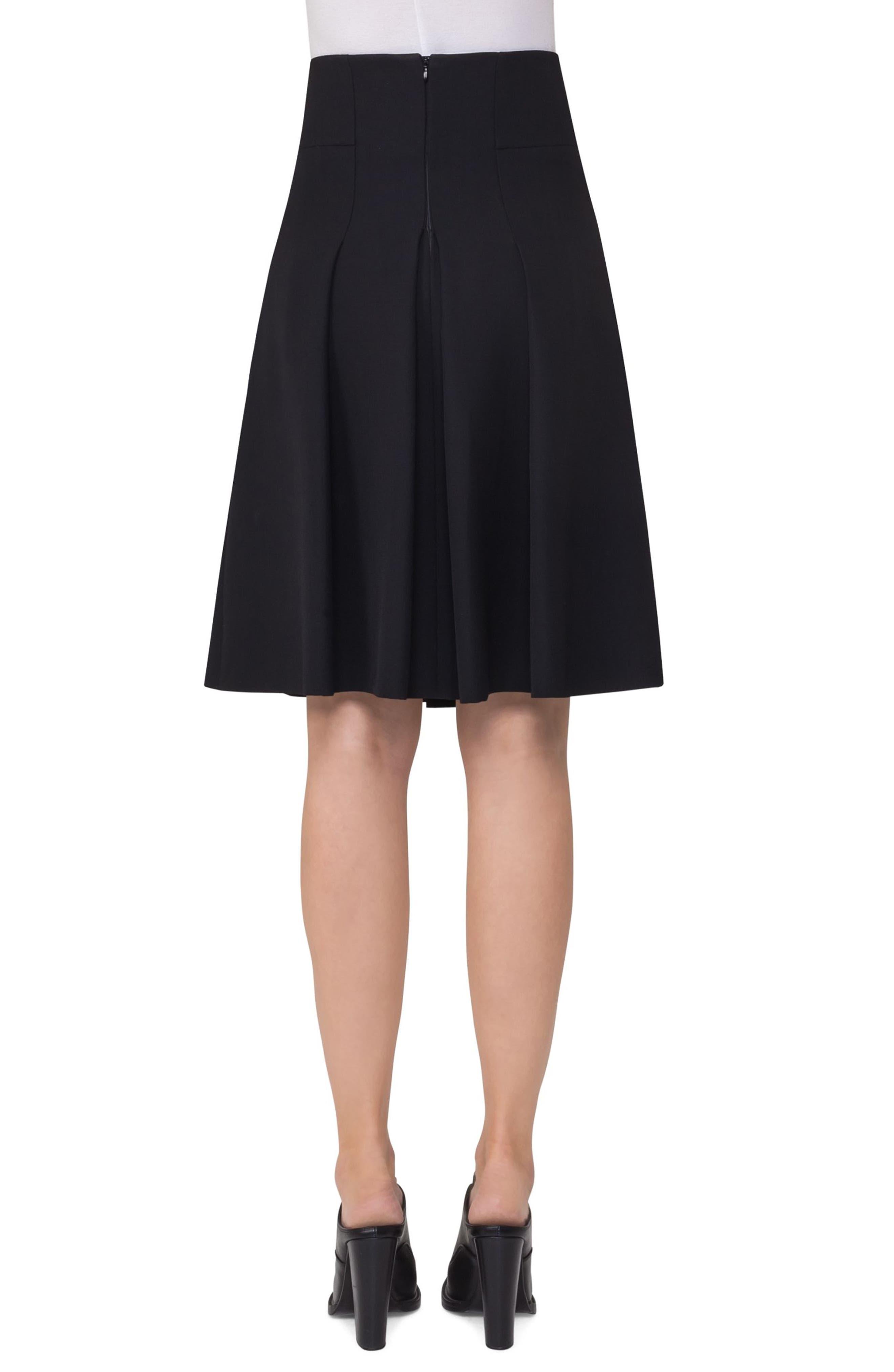 Pleated Wool Skirt,                             Alternate thumbnail 2, color,                             Black