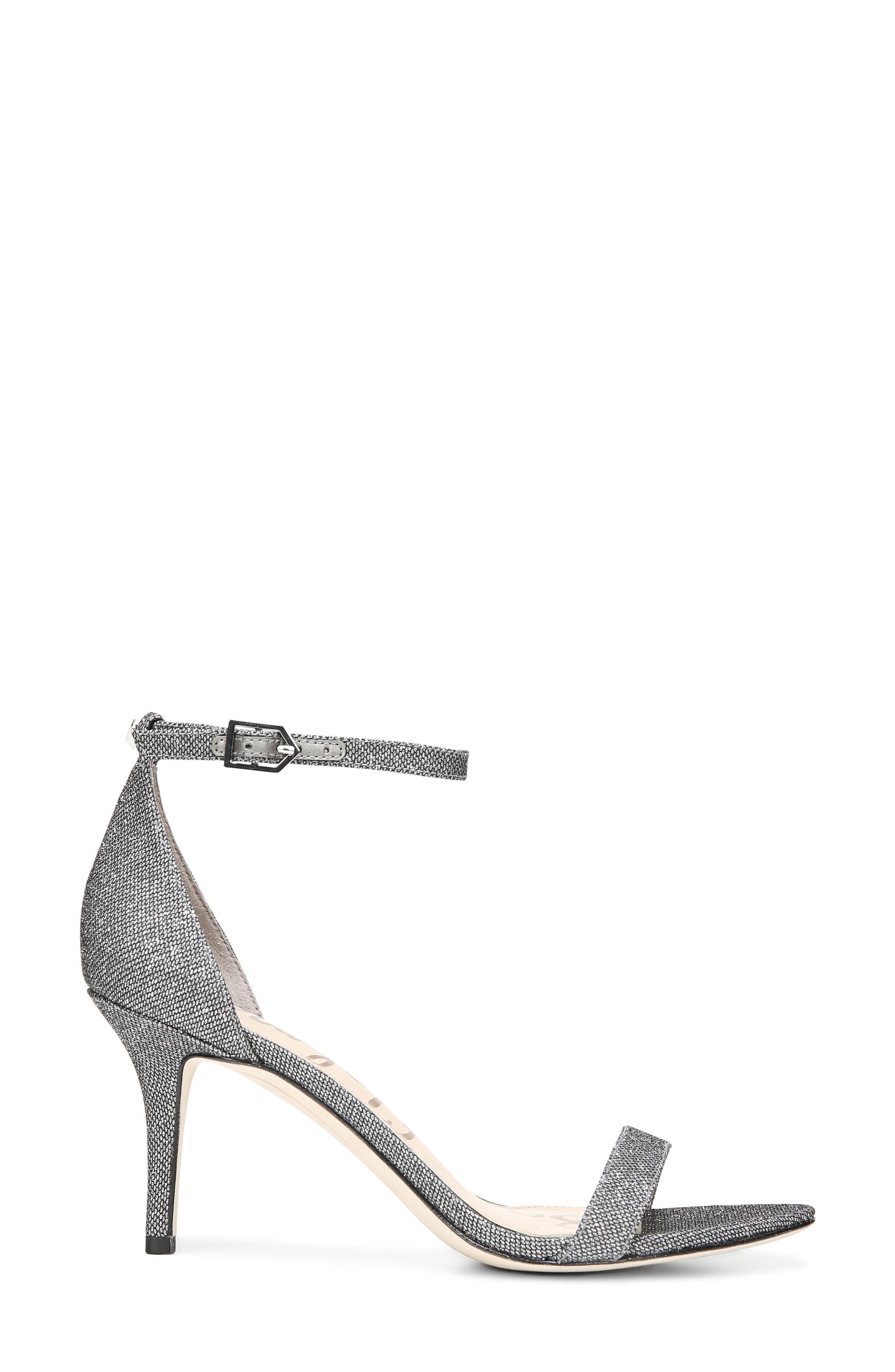 Patti Ankle Strap Sandal,                             Alternate thumbnail 3, color,                             Pewter Fabric