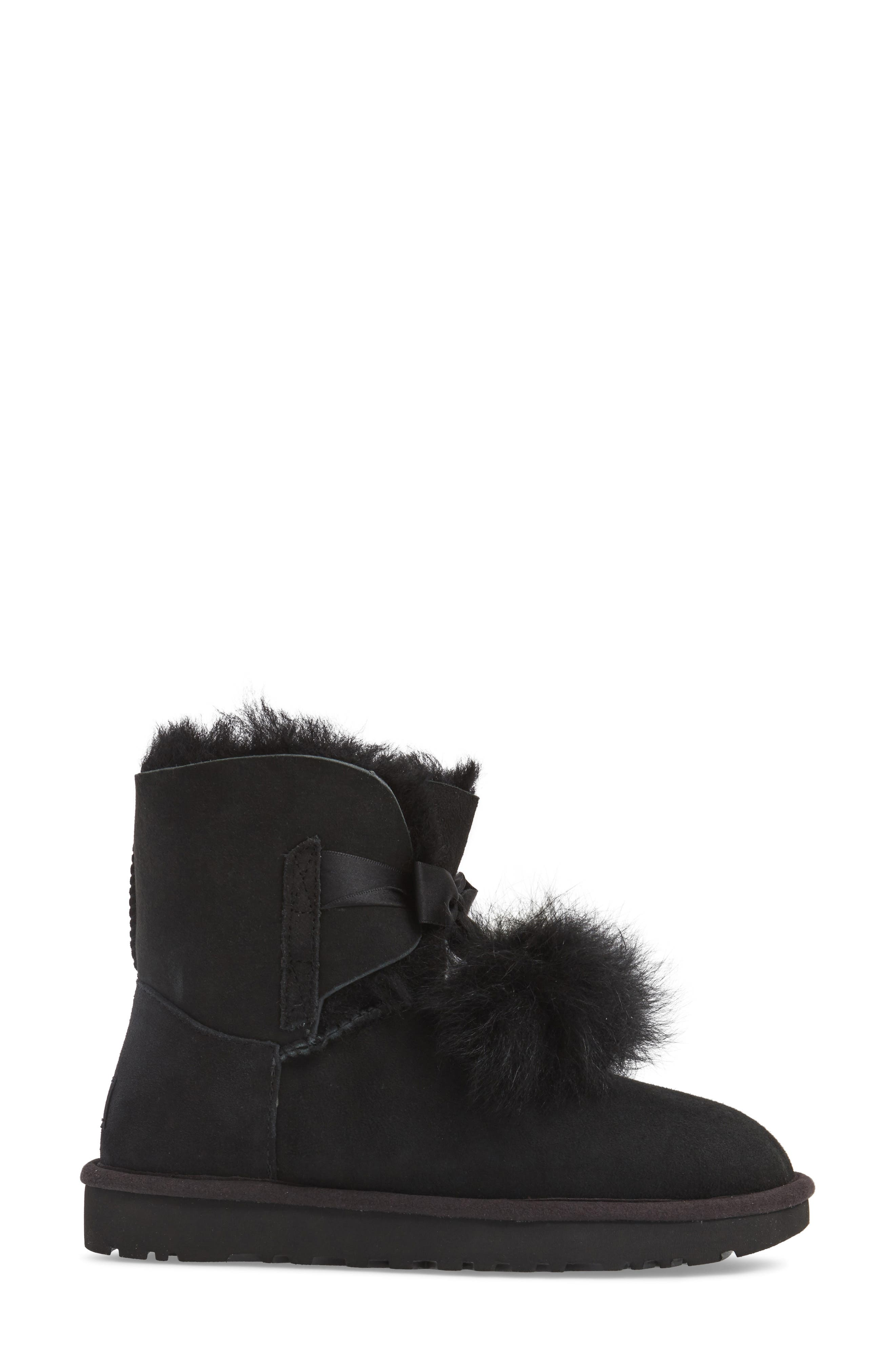 Gita Genuine Shearling Boot,                             Alternate thumbnail 3, color,                             Black Suede