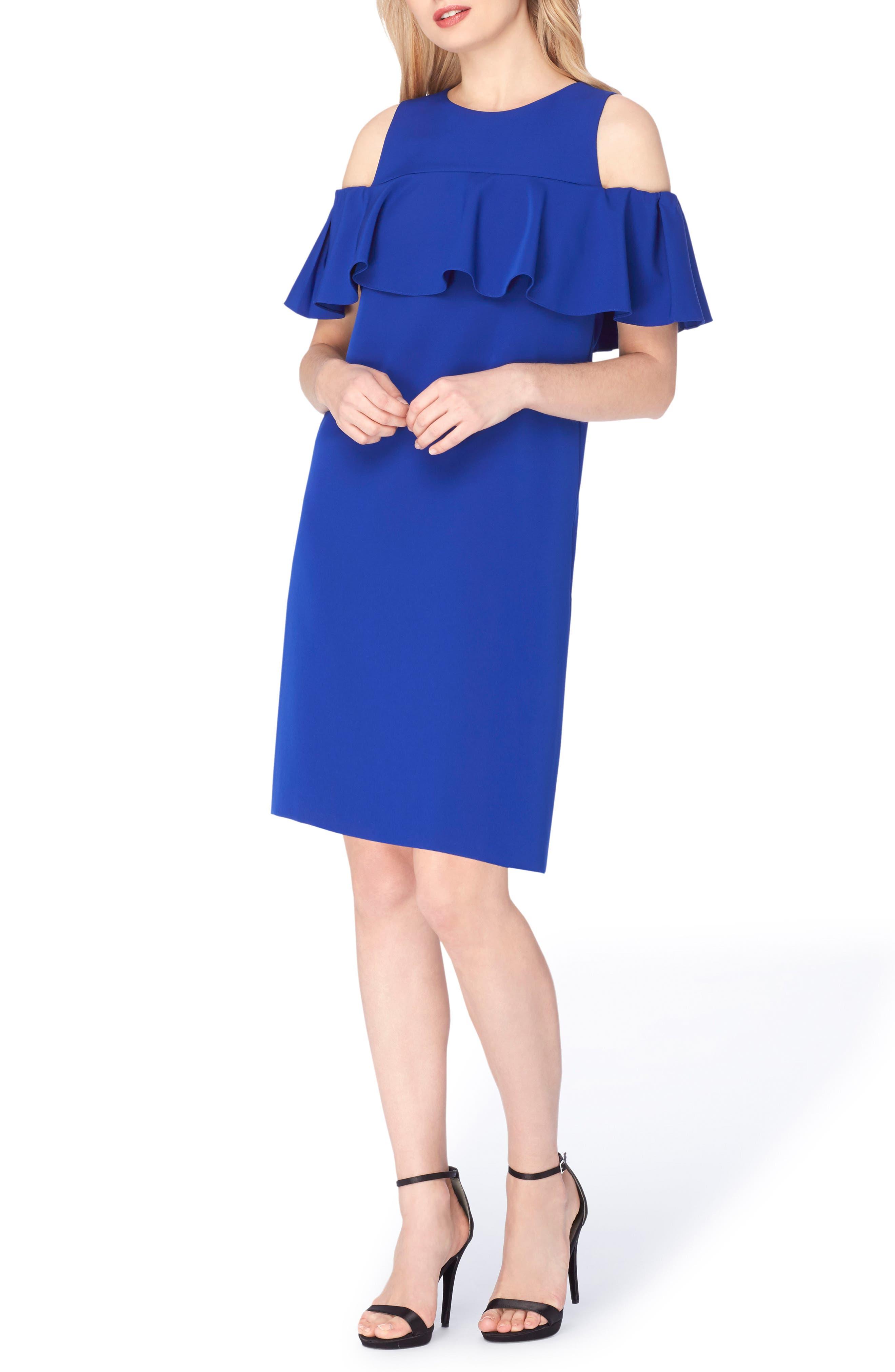 Tahari Cold Shoulder Shift Dress (Regular & Petite)