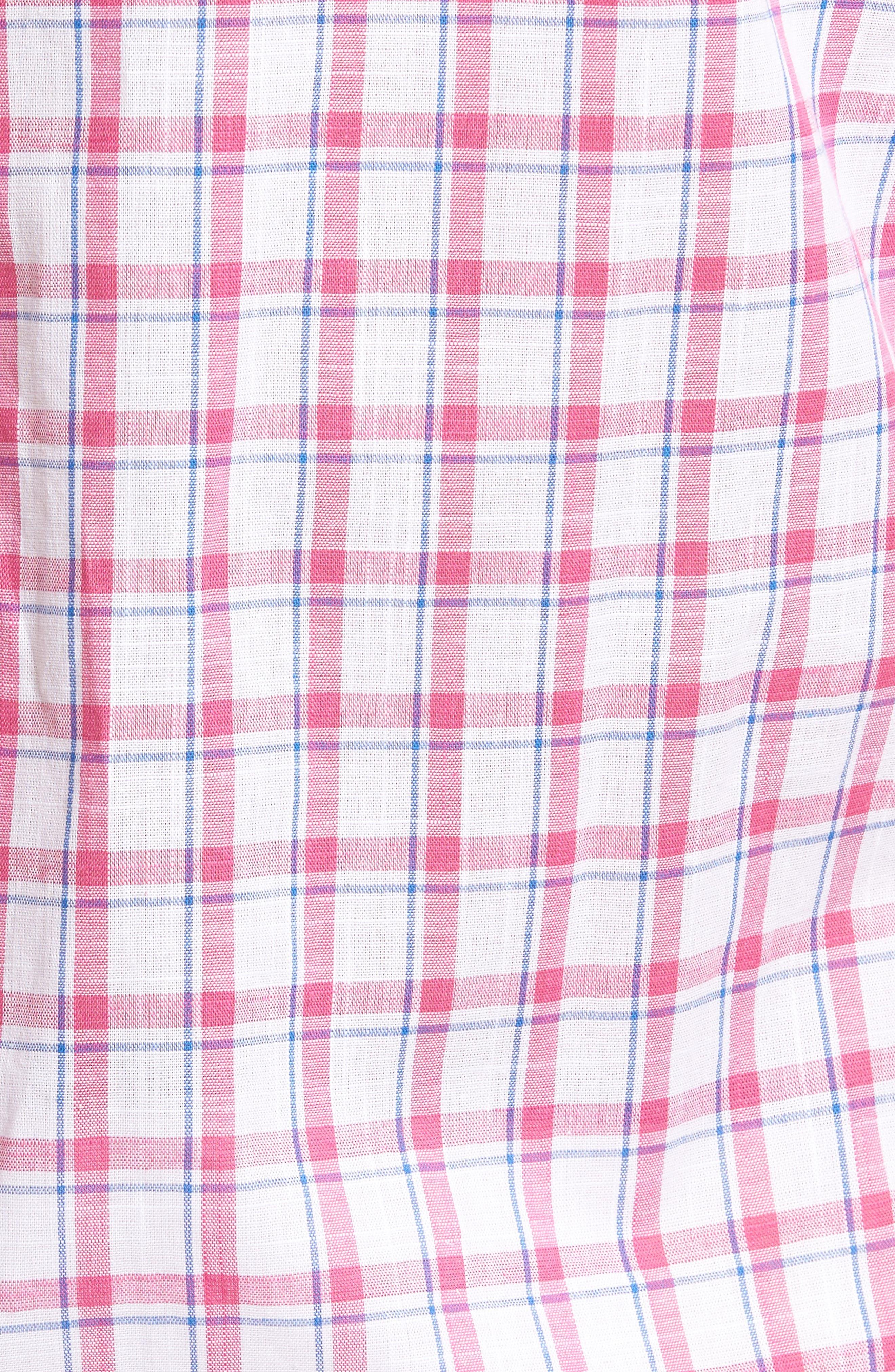 Alternate Image 5  - Tailorbyrd Regular Fit Short Sleeve Windowpane Sport Shirt