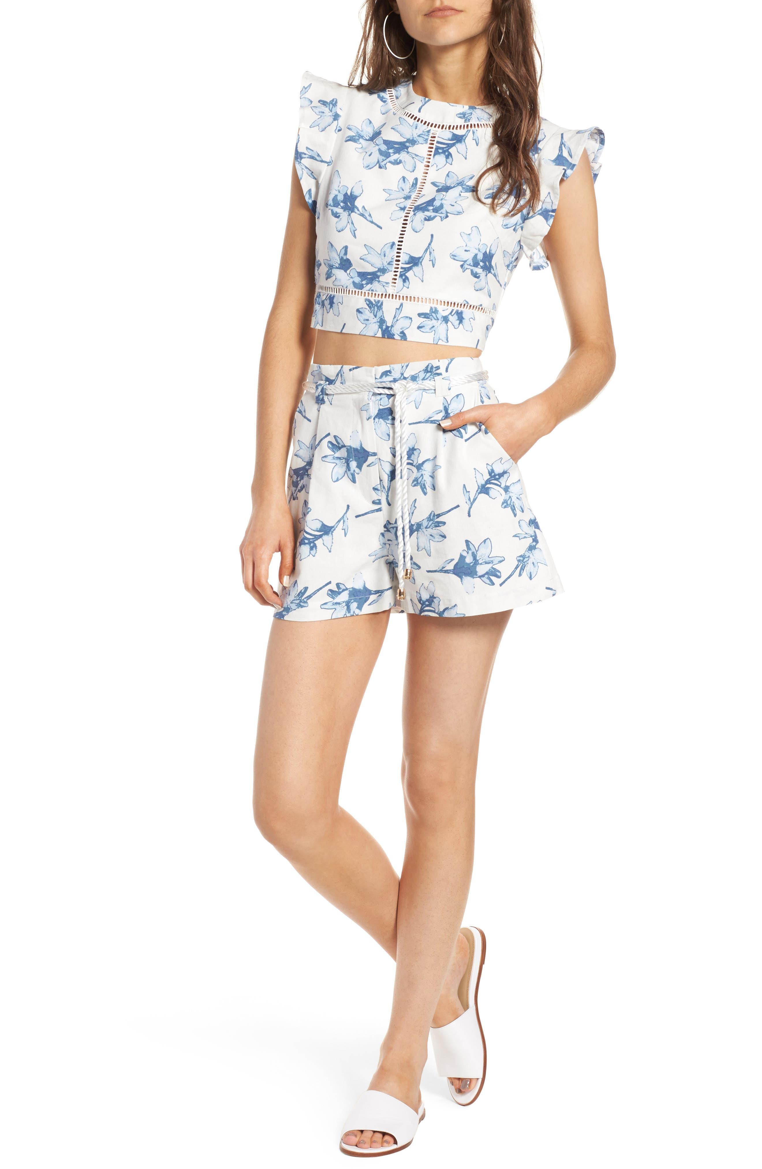 High Waist Linen Shorts,                             Alternate thumbnail 2, color,                             White