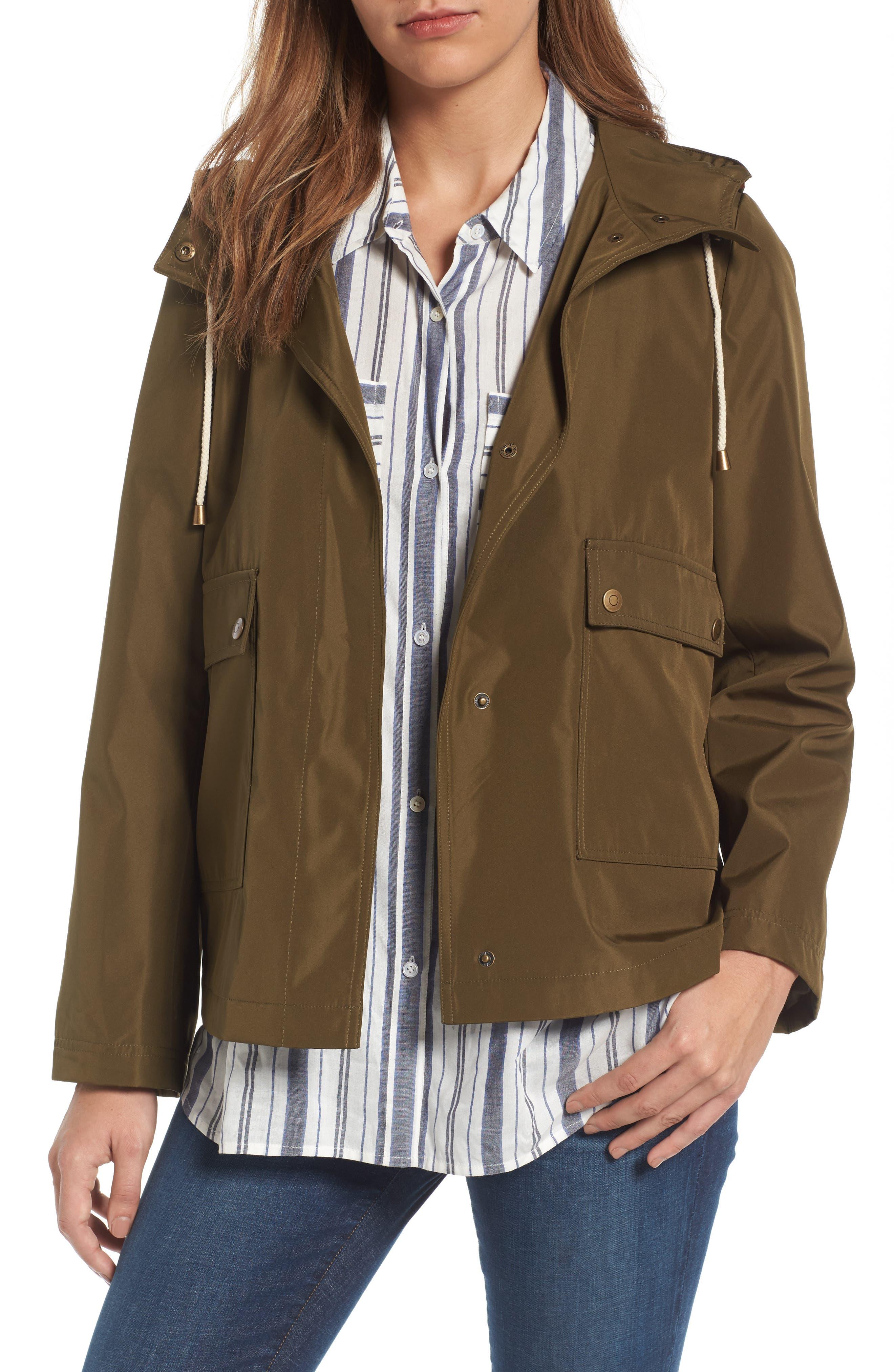 Caslon® Short Hooded Jacket