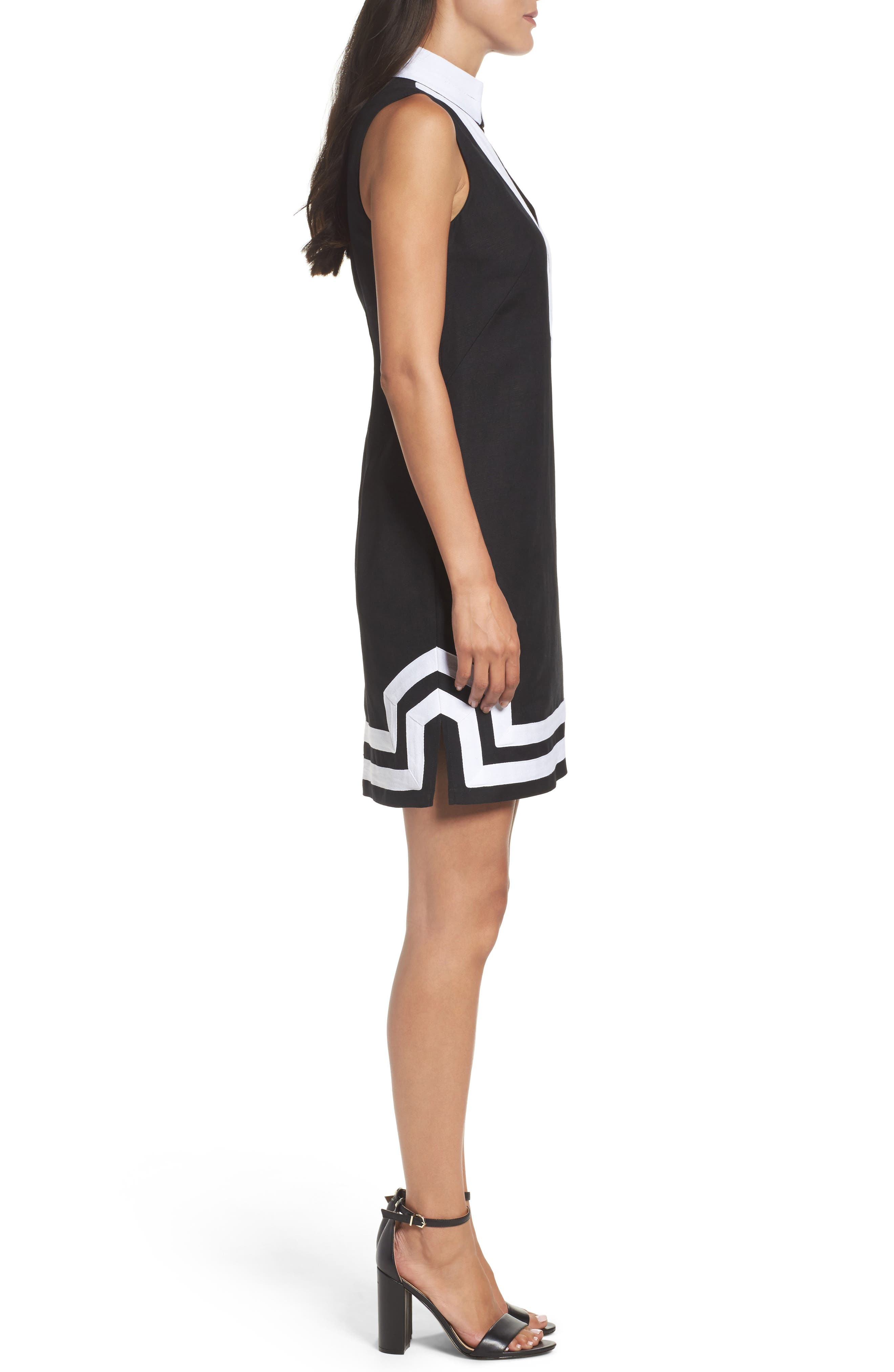 Linen Blend Sheath Dress,                             Alternate thumbnail 3, color,                             Black/ Ivory