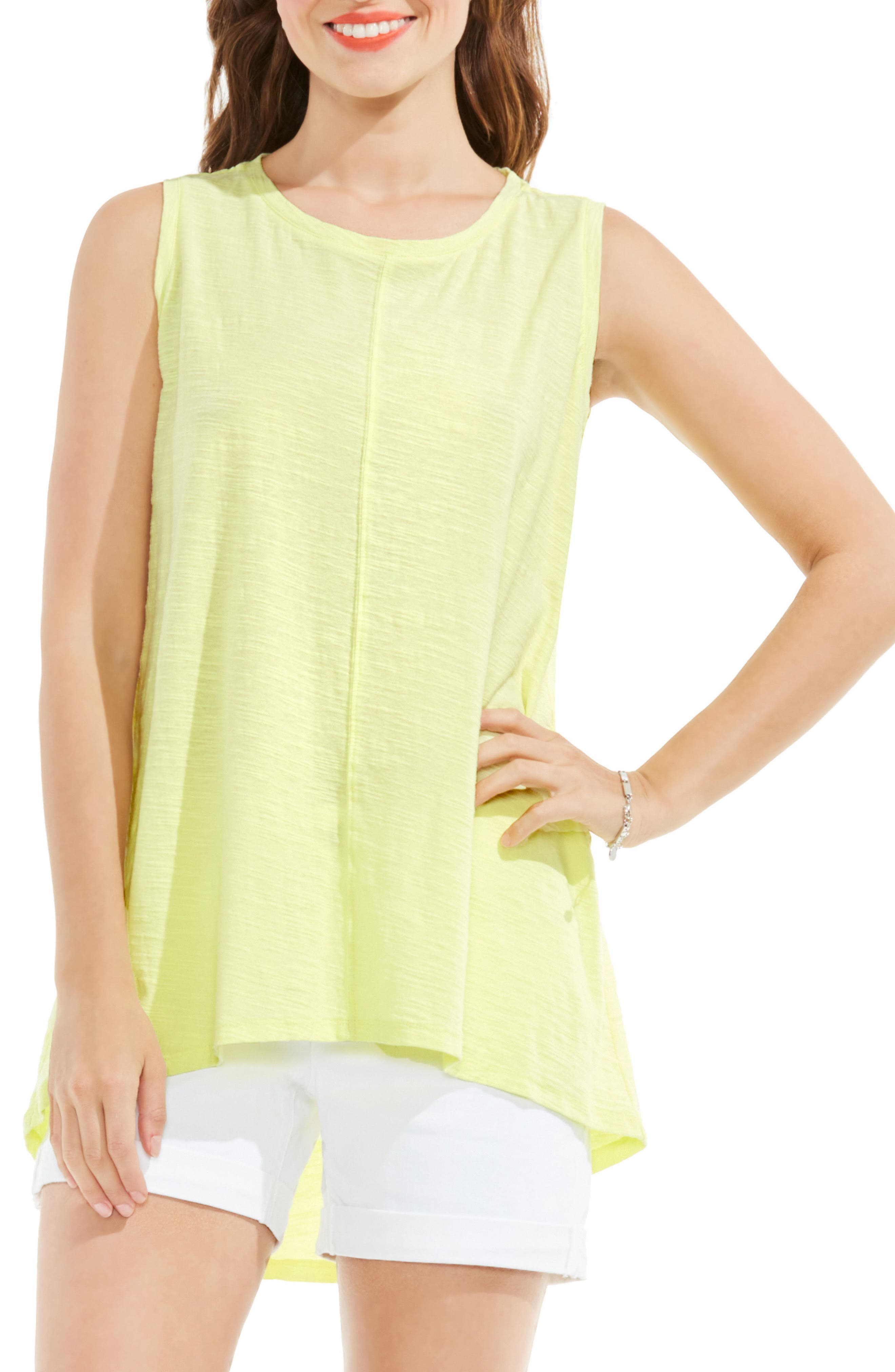 Two by Vince Camuto Slub Cotton High/Low Tank