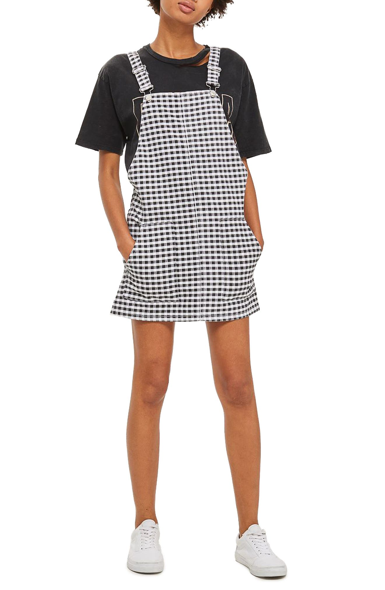 Alternate Image 1 Selected - Topshop Gingham Pinafore Dress