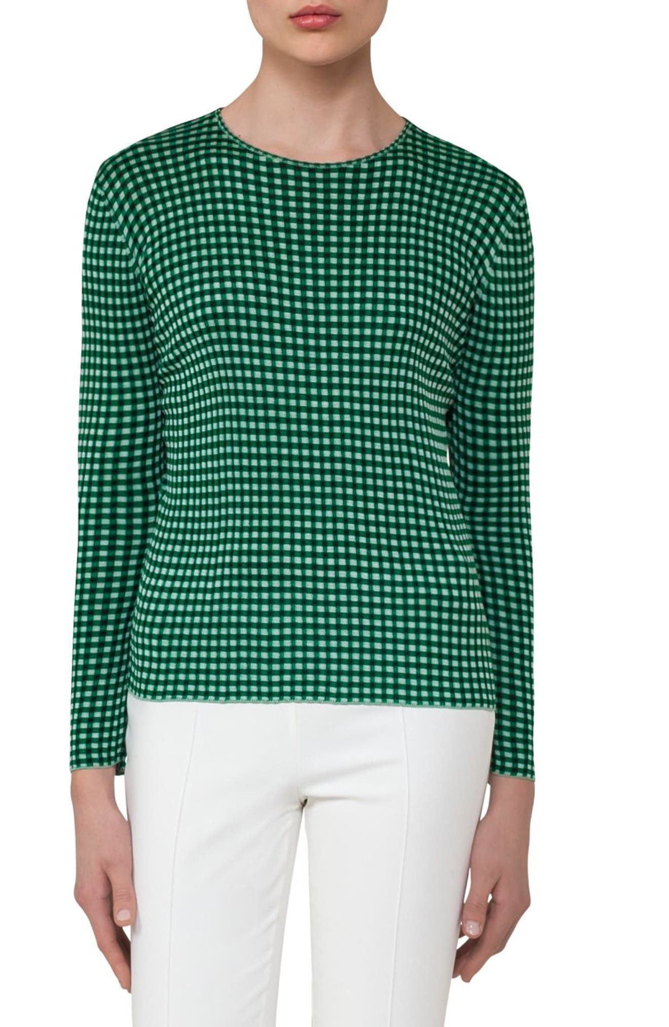 Akris Check Jacquard Knit Silk Top
