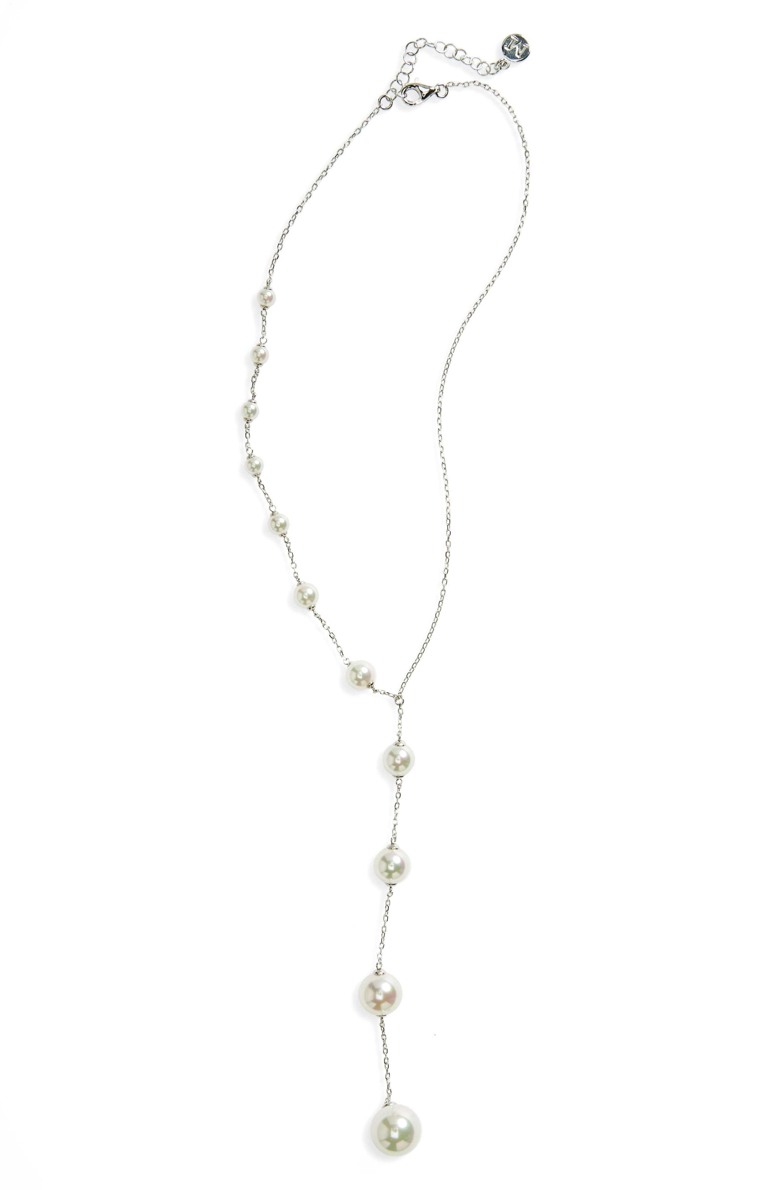 Illusion Simulated Pearl Y-Necklace,                         Main,                         color, White