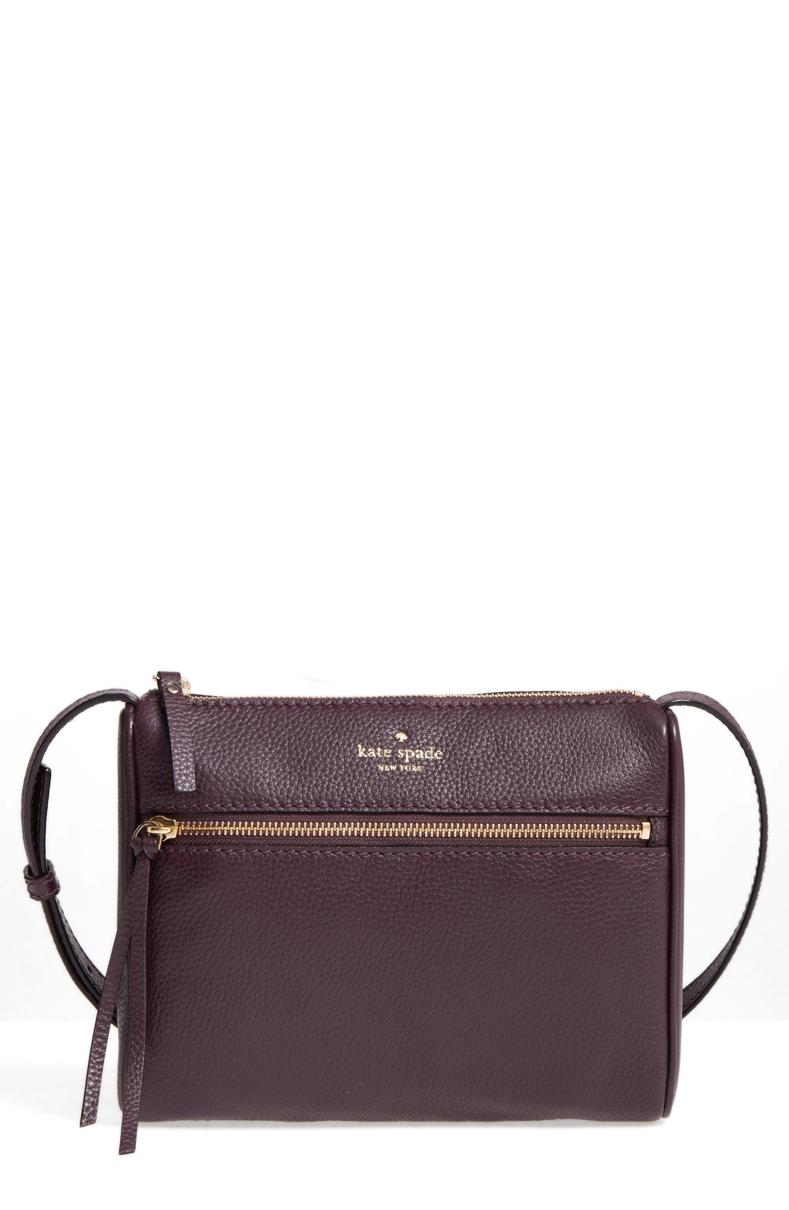 young lane - cayli leather crossbody bag,                         Main,                         color, Dark Mahogany