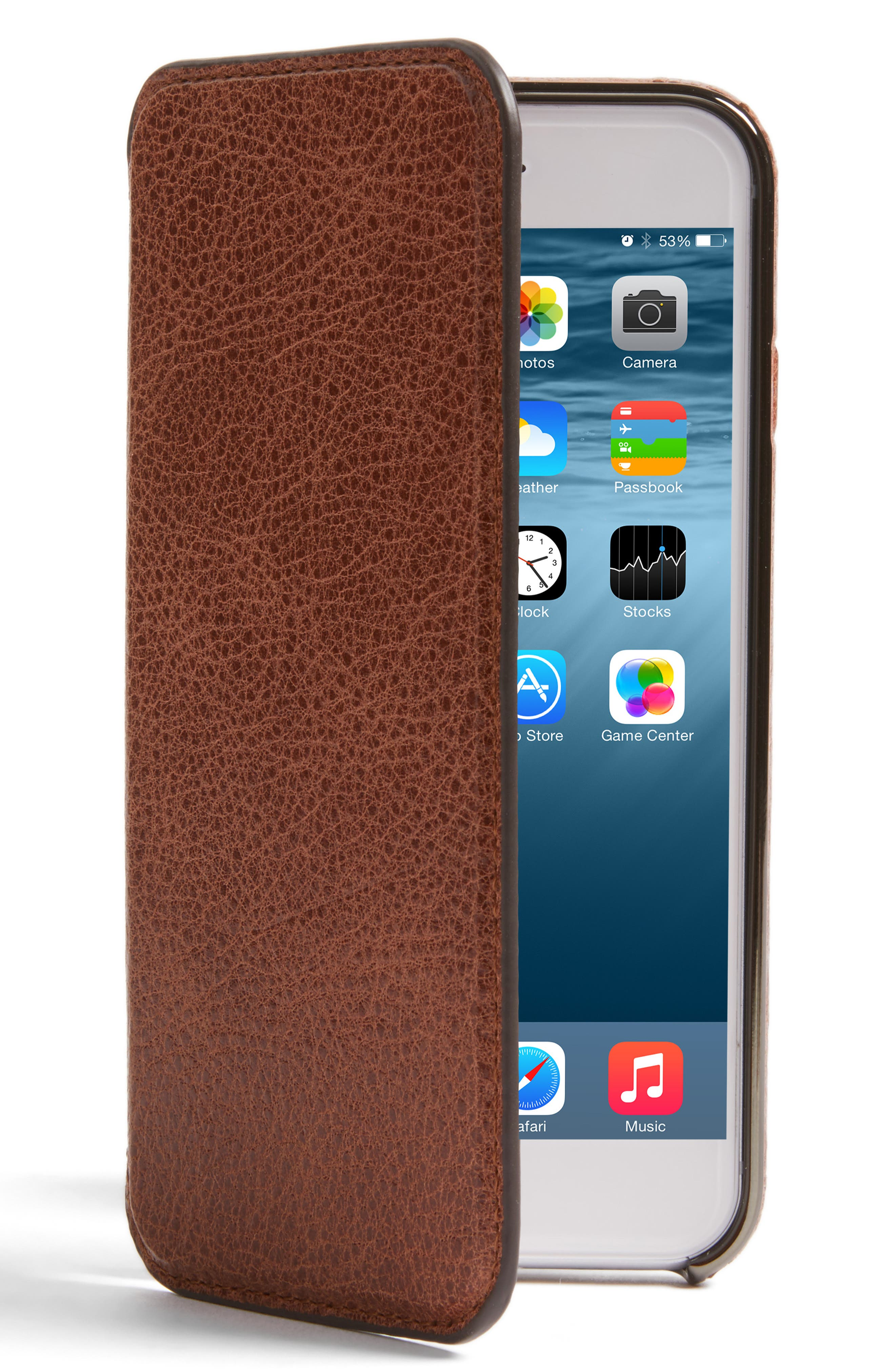 iPhone 7/8Ultra Thin Leather Wallet Case,                             Main thumbnail 1, color,                             Cognac