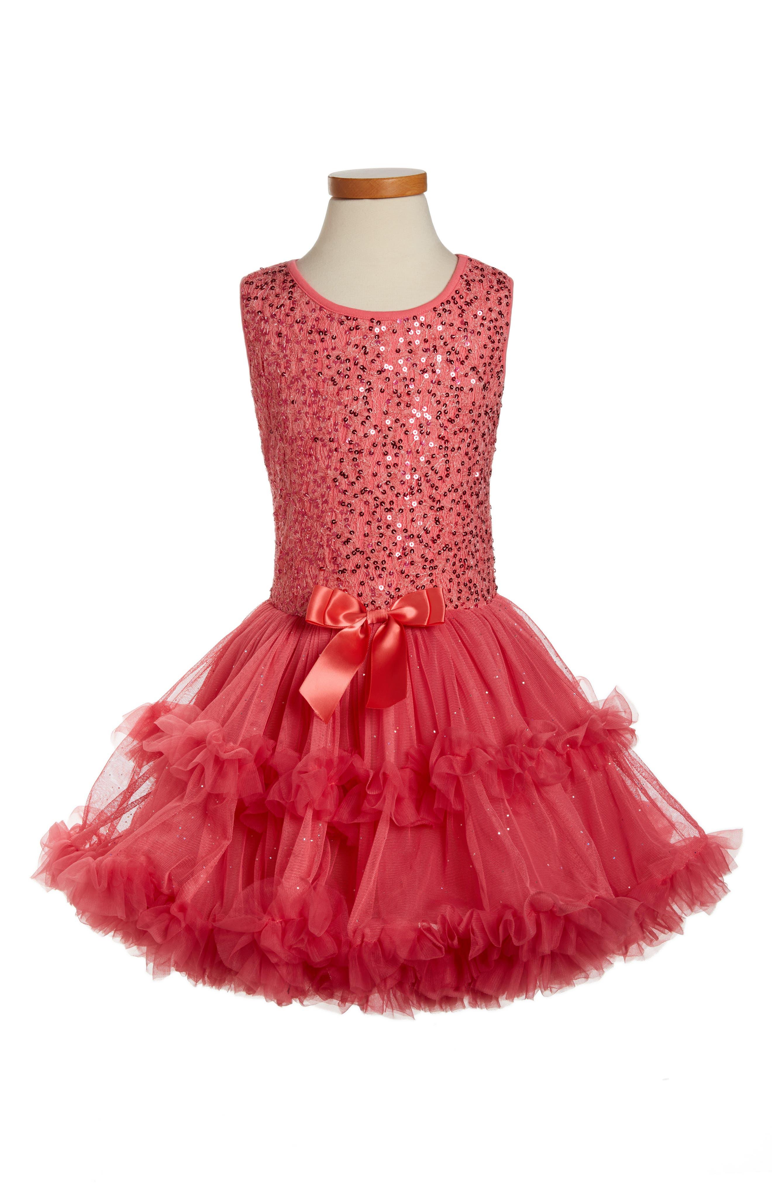 Sequin Sleeveless Dress,                         Main,                         color, Peach