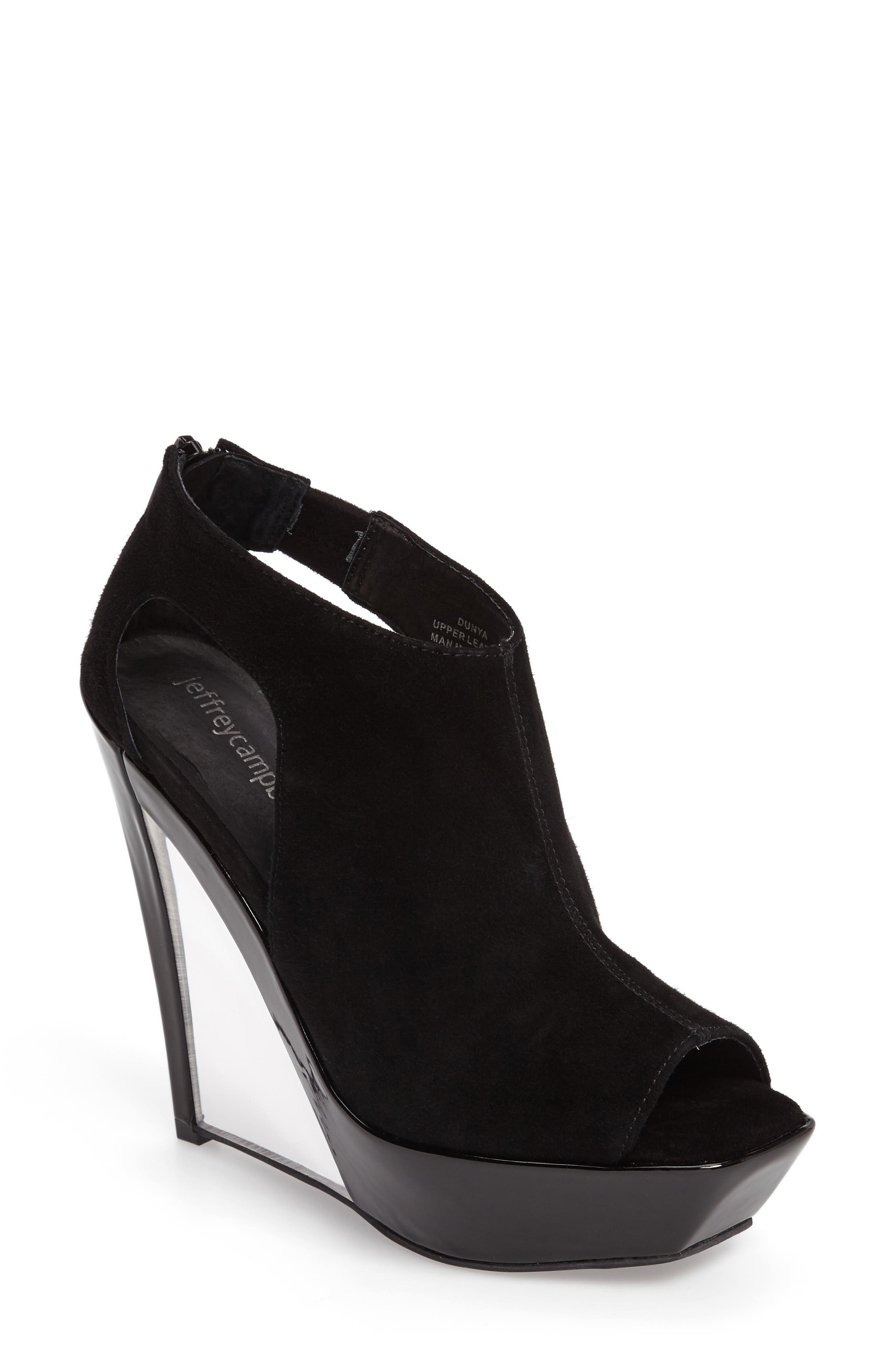 Dunya Cutout Platform Wedge Sandal,                         Main,                         color, Black Clear Leather