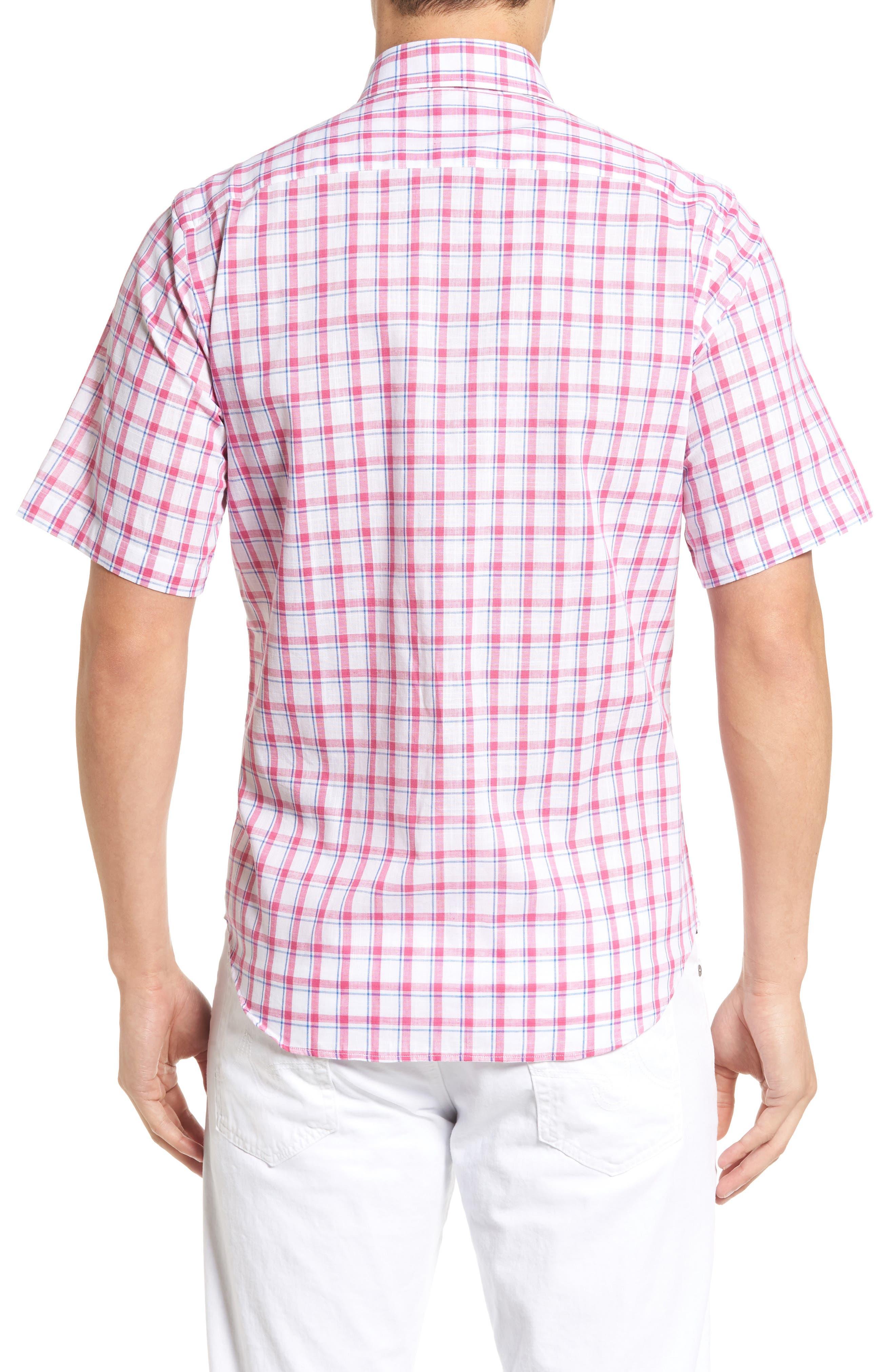 Alternate Image 2  - Tailorbyrd Regular Fit Short Sleeve Windowpane Sport Shirt