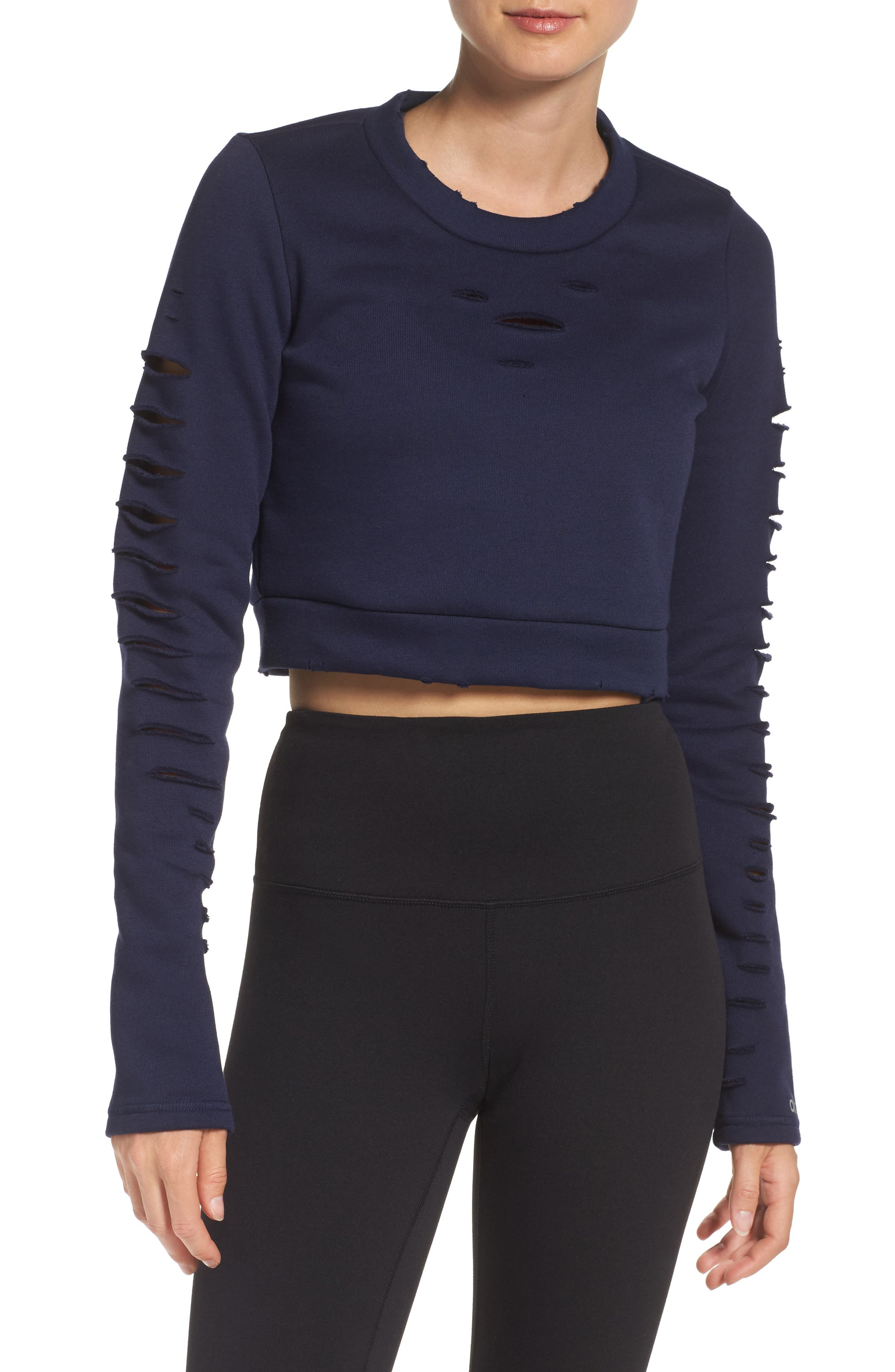 Ripped Warrior Crop Top,                         Main,                         color, Navy
