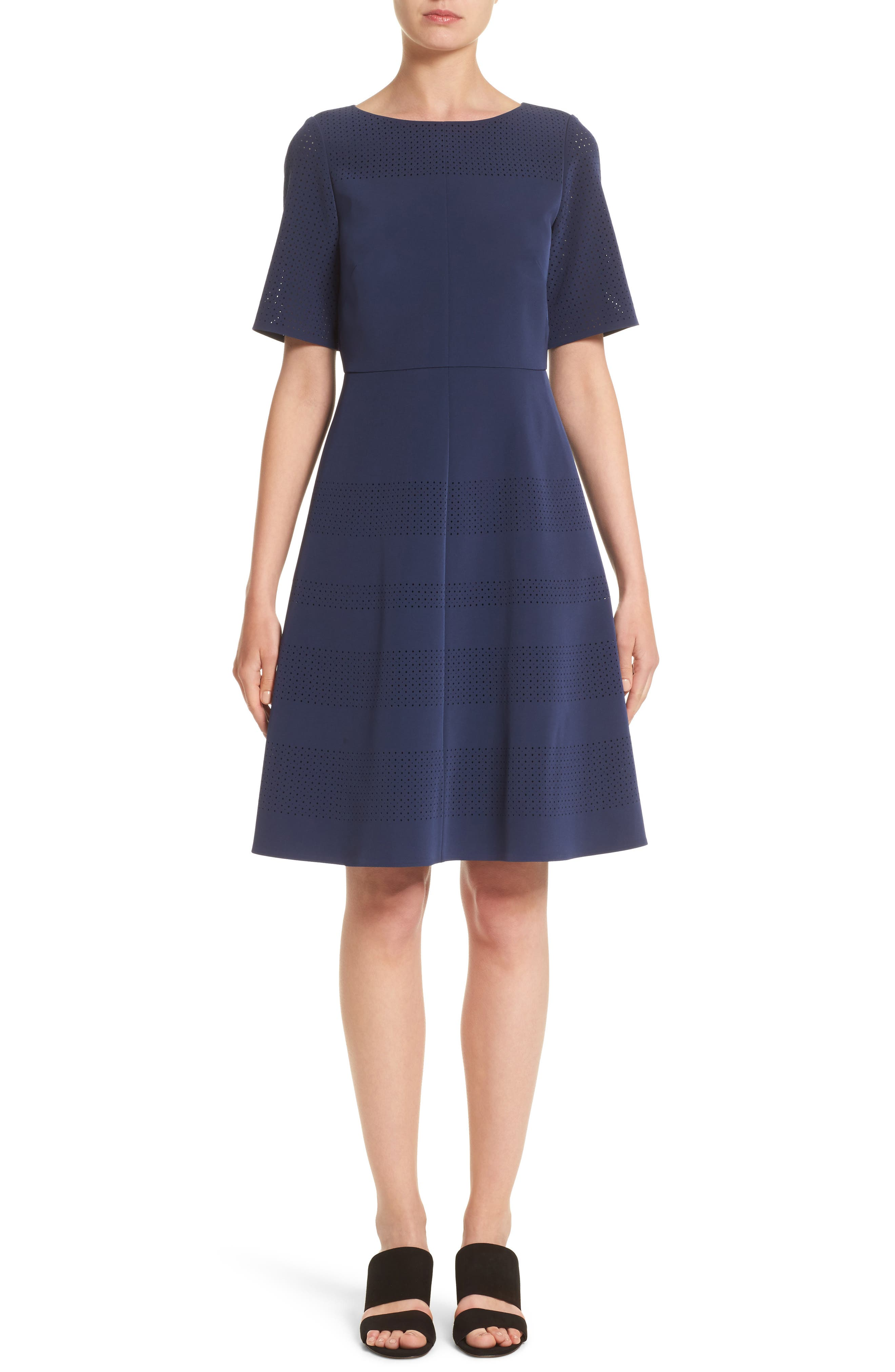 Tamera Perforated Fit & Flare Dress,                         Main,                         color, Delft