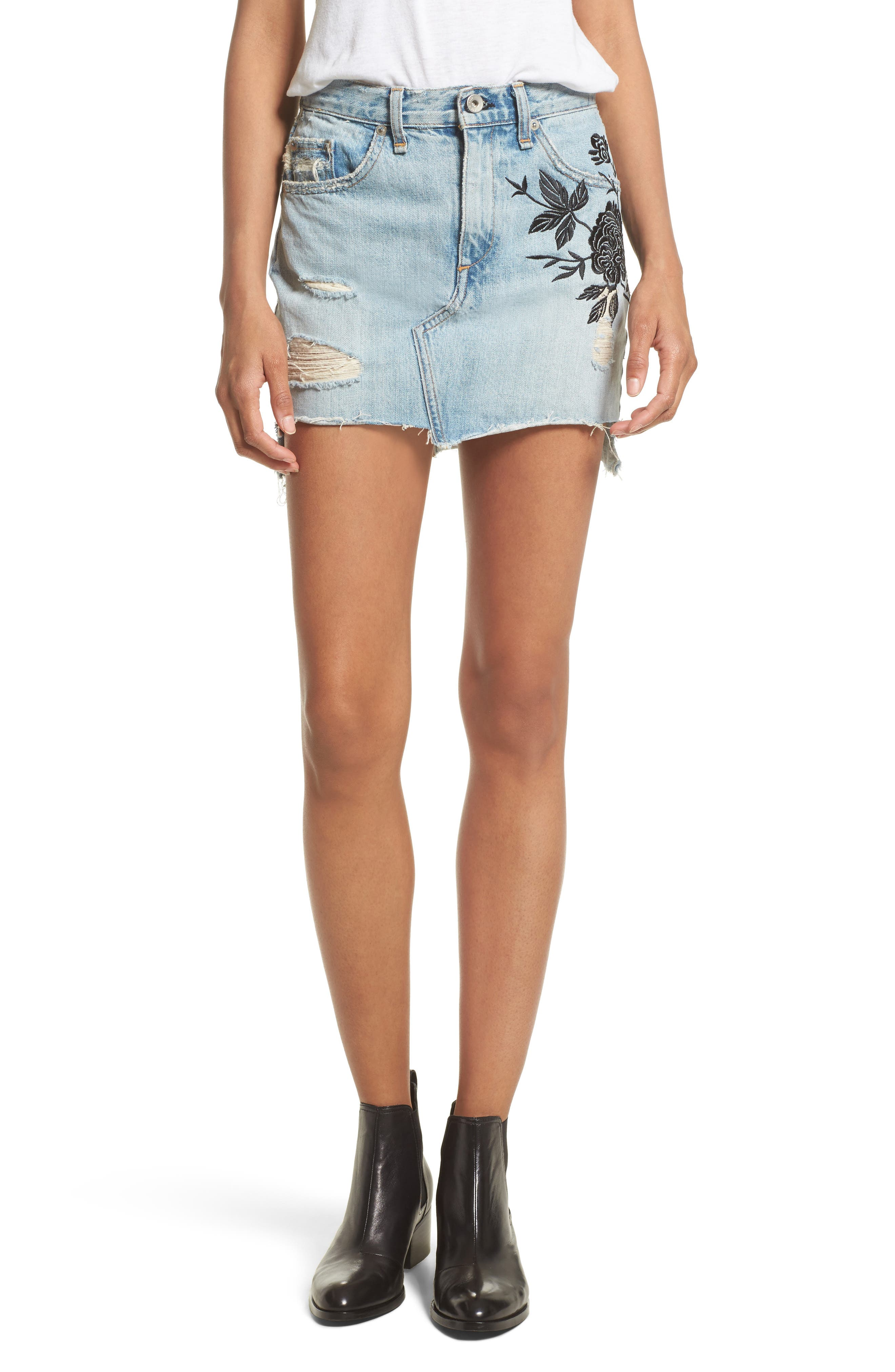 rag & bone/JEAN Dive Embroidered Denim Miniskirt