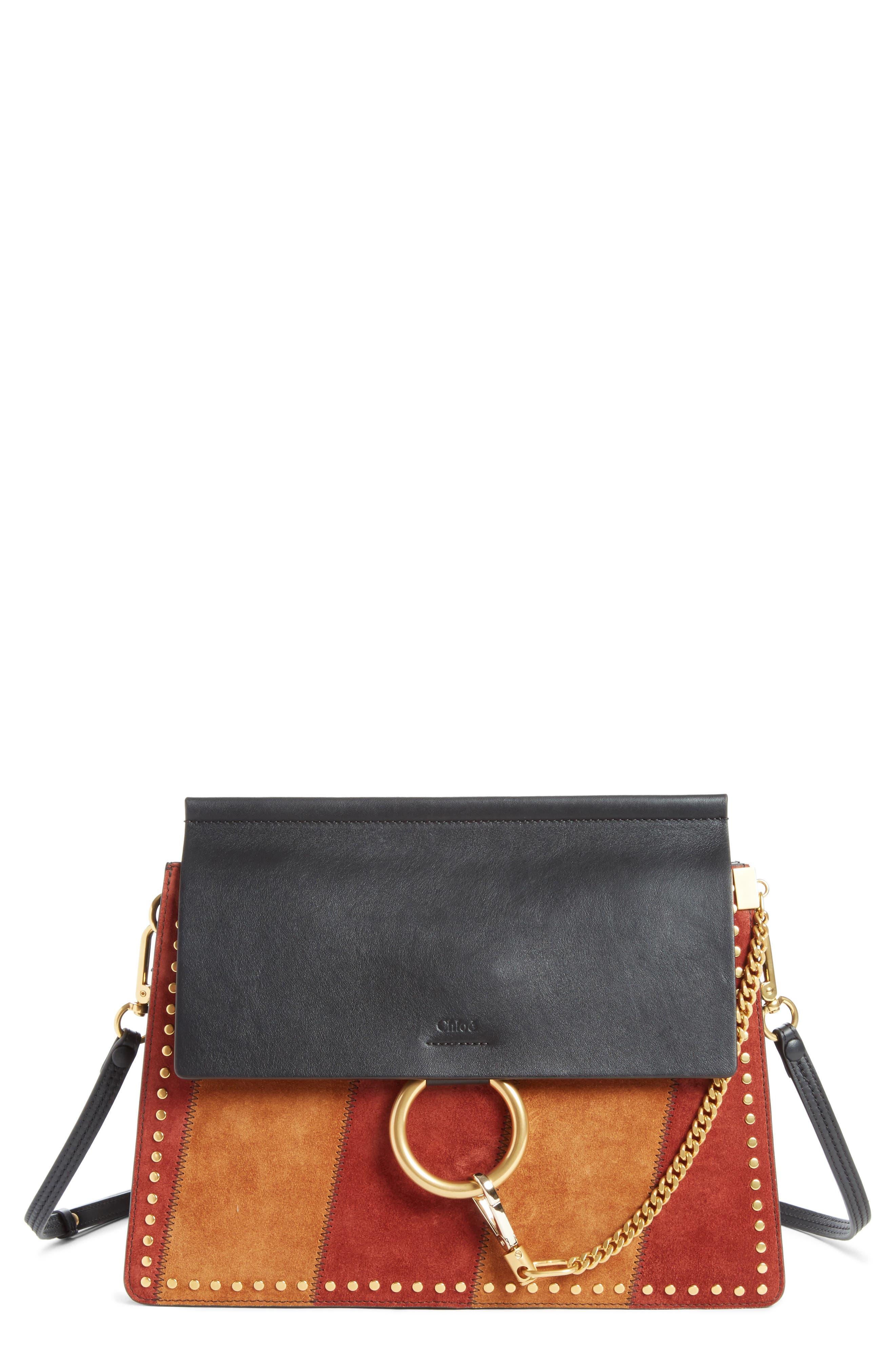 Faye Studded Suede & Leather Shoulder Bag,                             Main thumbnail 1, color,                             Black