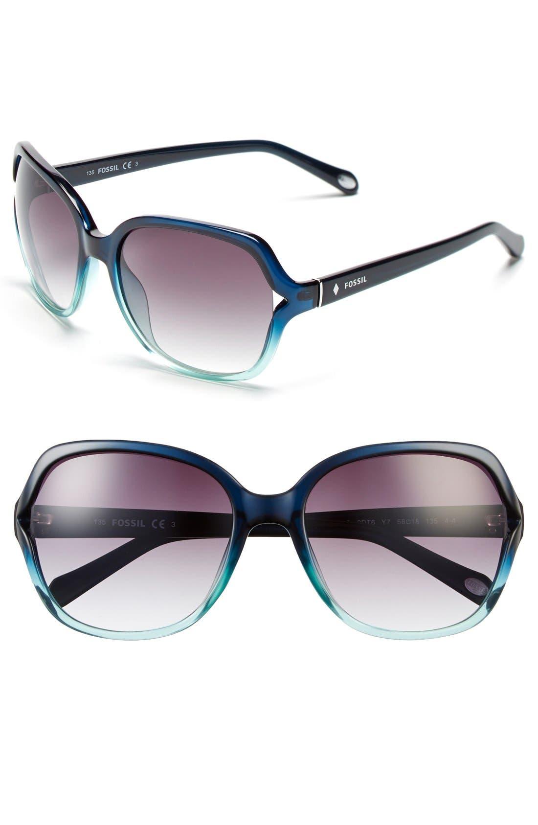 'Jesse' 58mm Oversize Sunglasses,                         Main,                         color, Aqua Fade