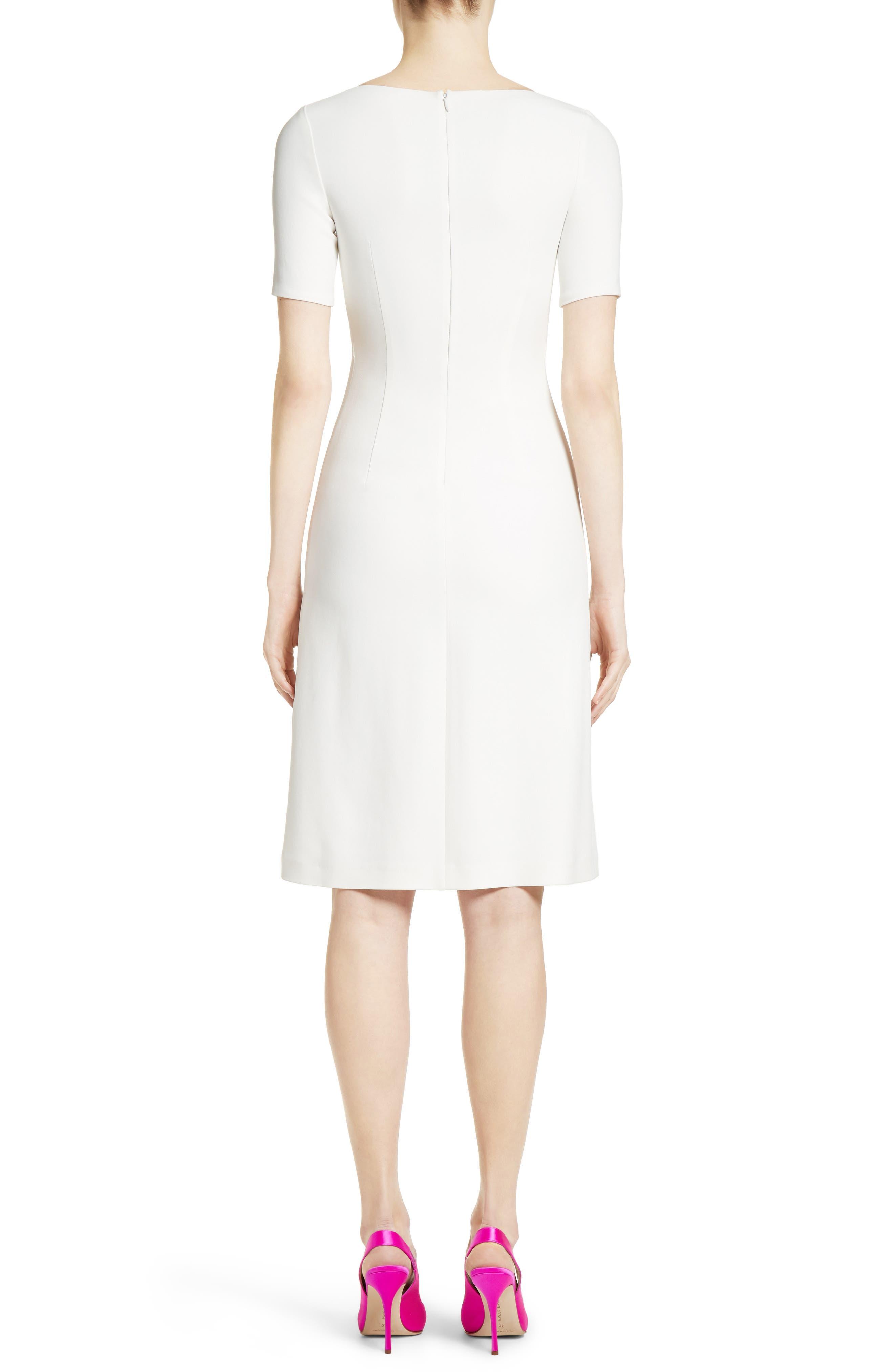 Stretch Cady Dress,                             Alternate thumbnail 2, color,                             Ivory