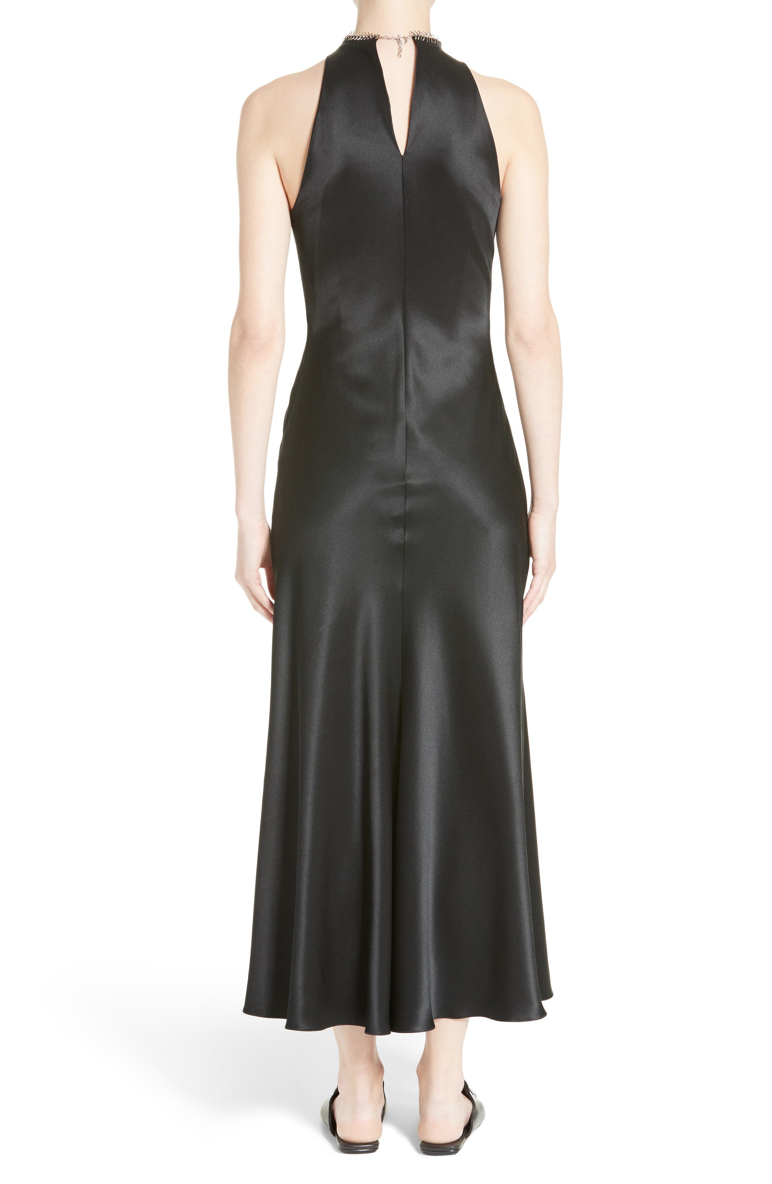Fishbone Necklace Silk Satin Dress,                             Alternate thumbnail 2, color,                             Onyx