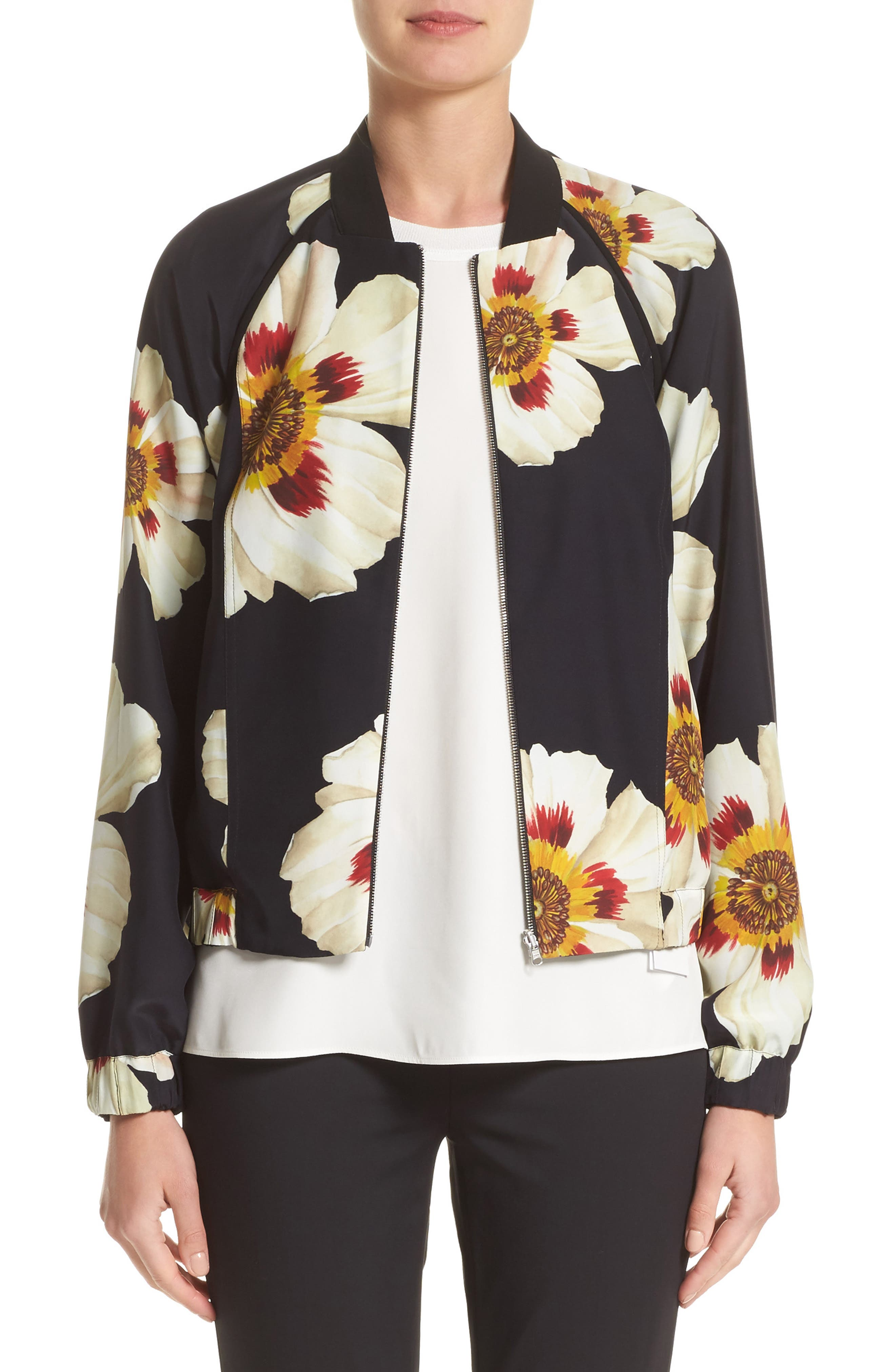 Irelyn Reversible Silk Bomber Jacket,                         Main,                         color, Black Multi