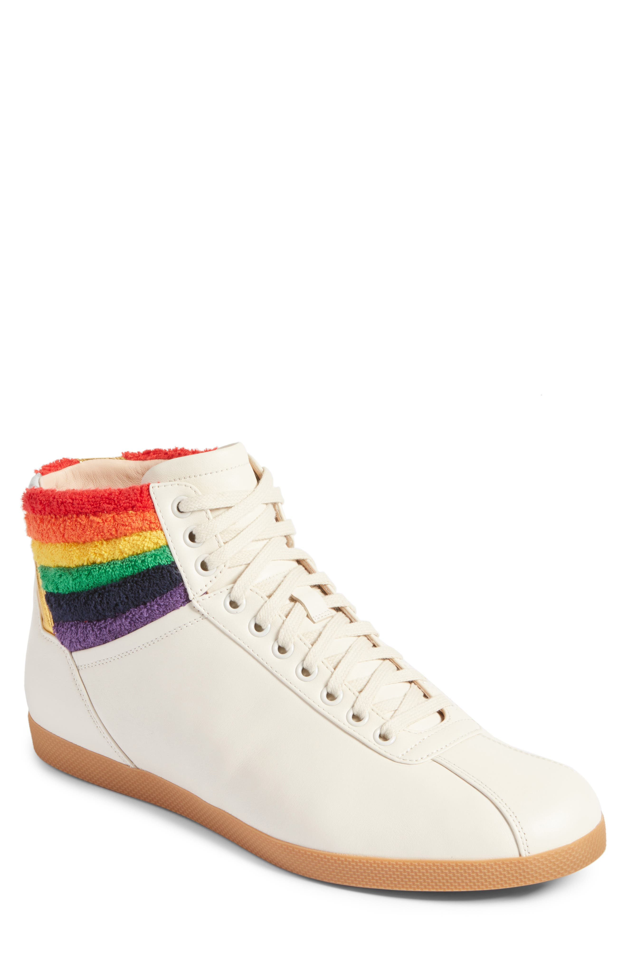 Alternate Image 1 Selected - Gucci Bambi Rainbow Terry High Top Sneaker (Men)