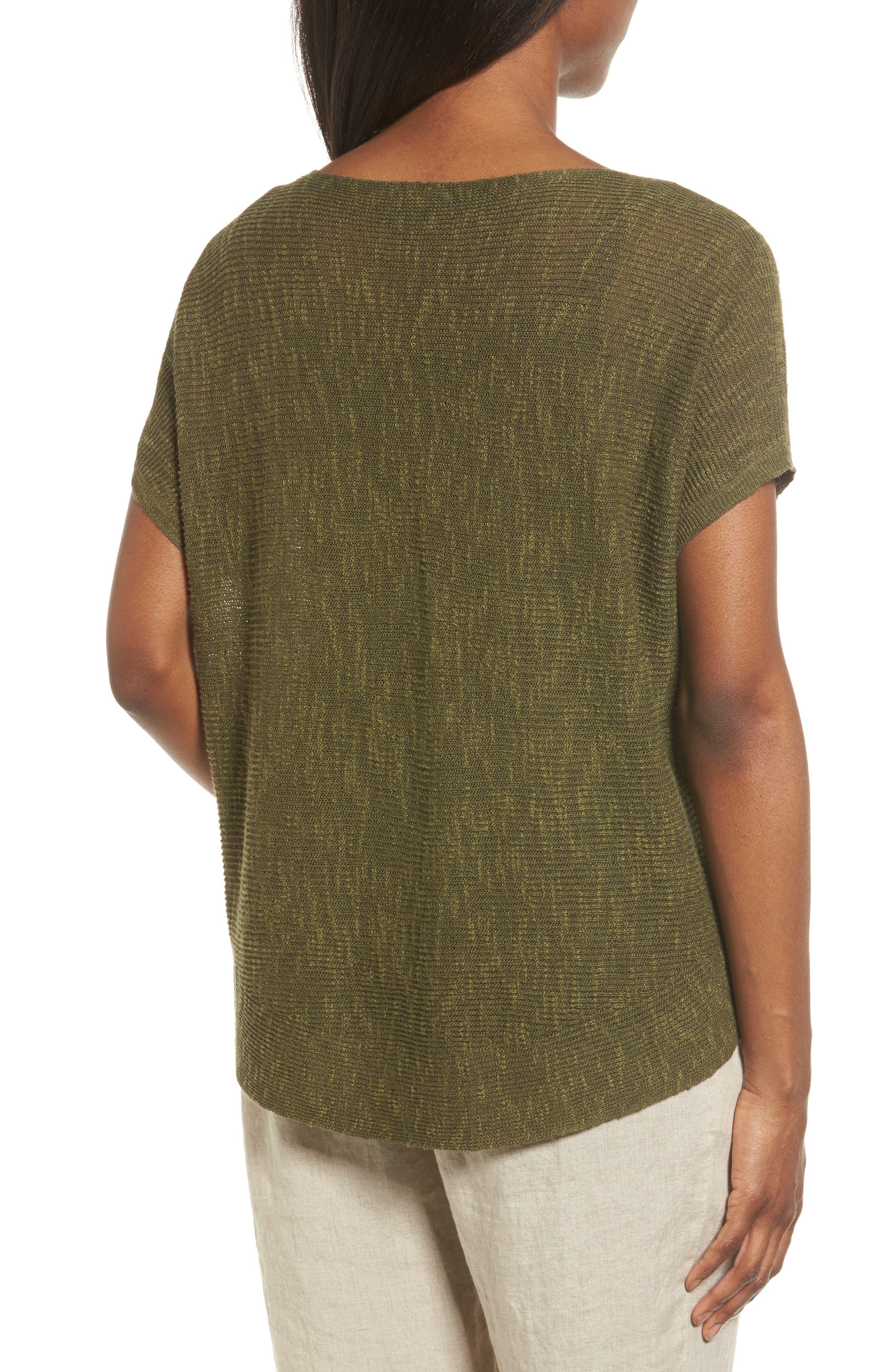 Organic Linen & Cotton Knit Top,                             Alternate thumbnail 2, color,                             Olive