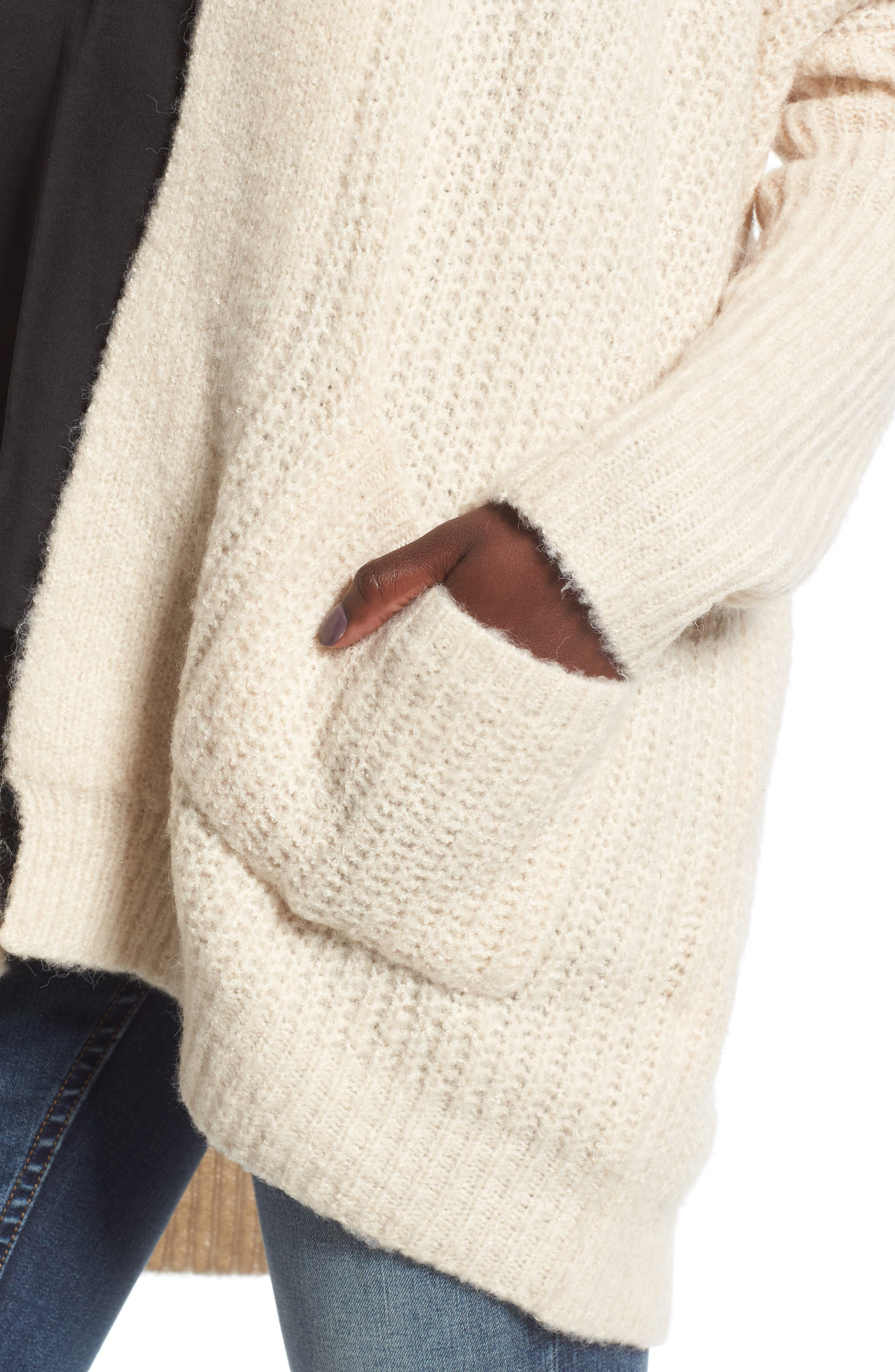 Alternate Image 4  - Dreamers by Debut Rib Knit Open Cardigan