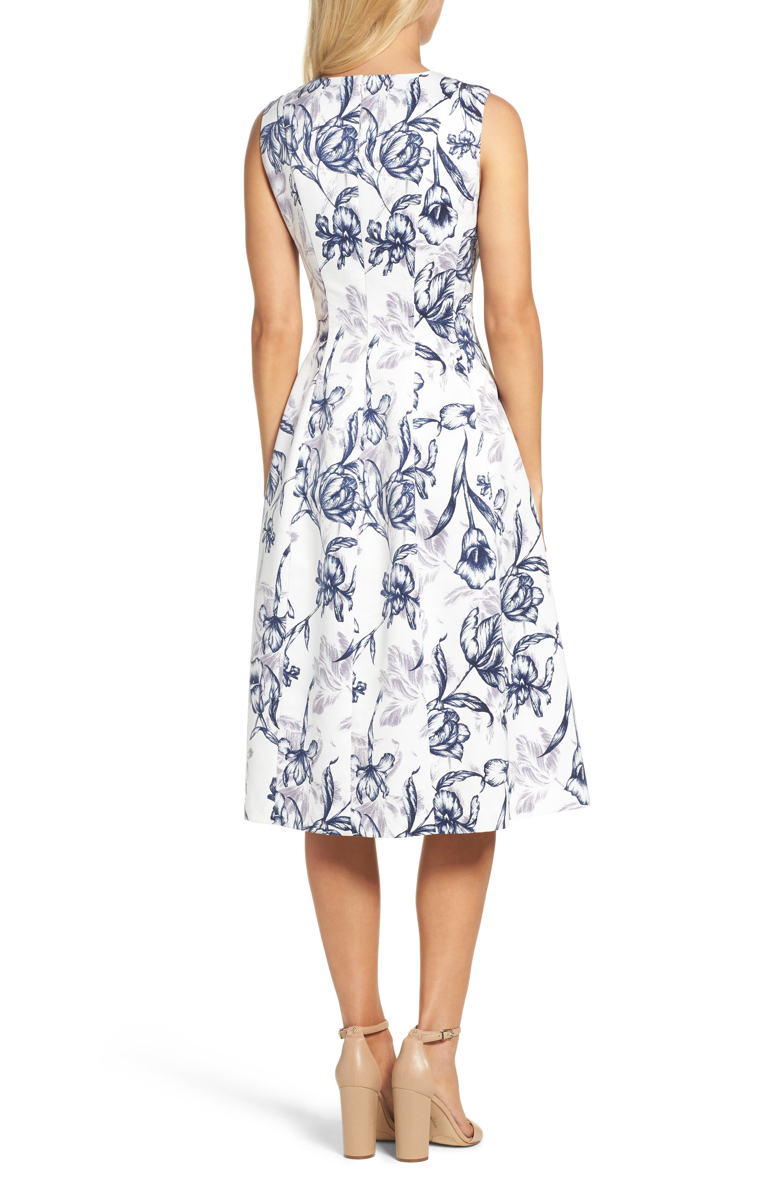 Fit & Flare Dress,                             Alternate thumbnail 2, color,                             Ivory/ Navy