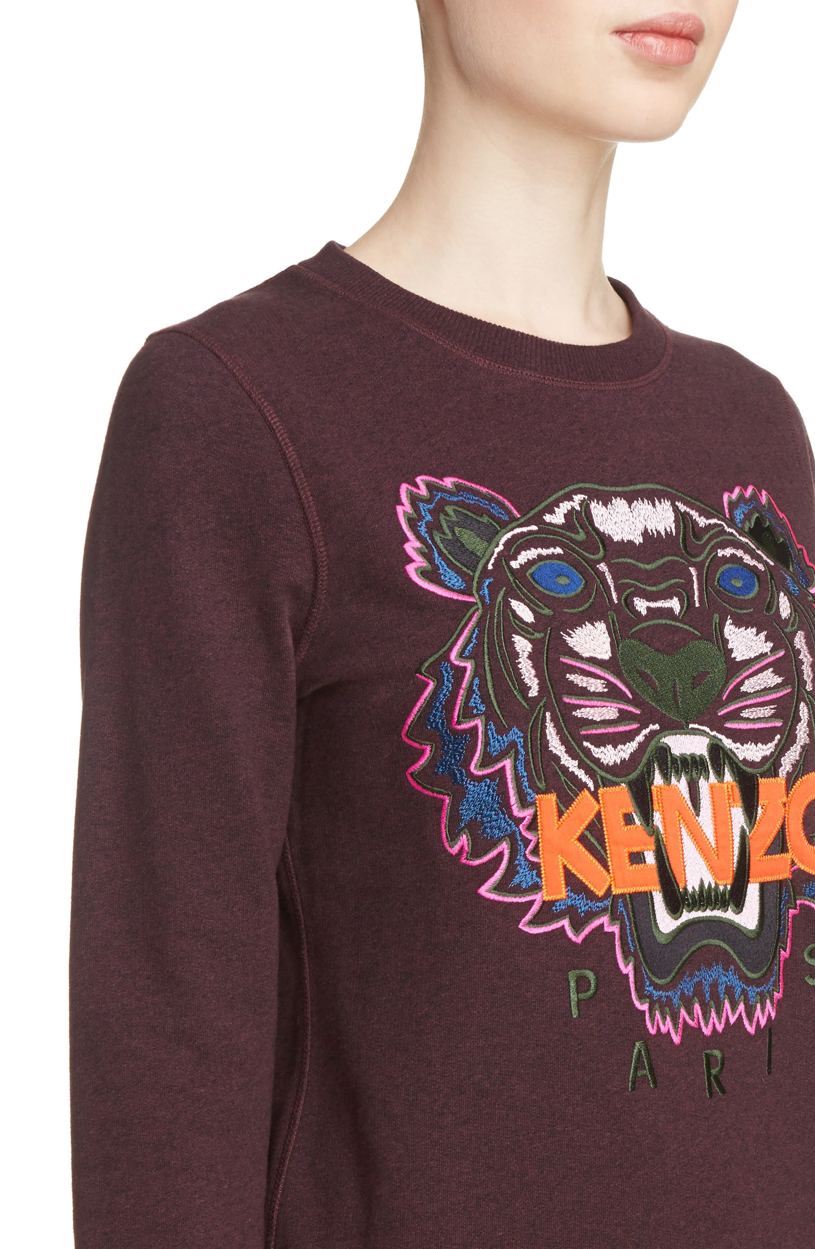Embroidered Tiger Sweatshirt,                             Alternate thumbnail 5, color,                             Prune