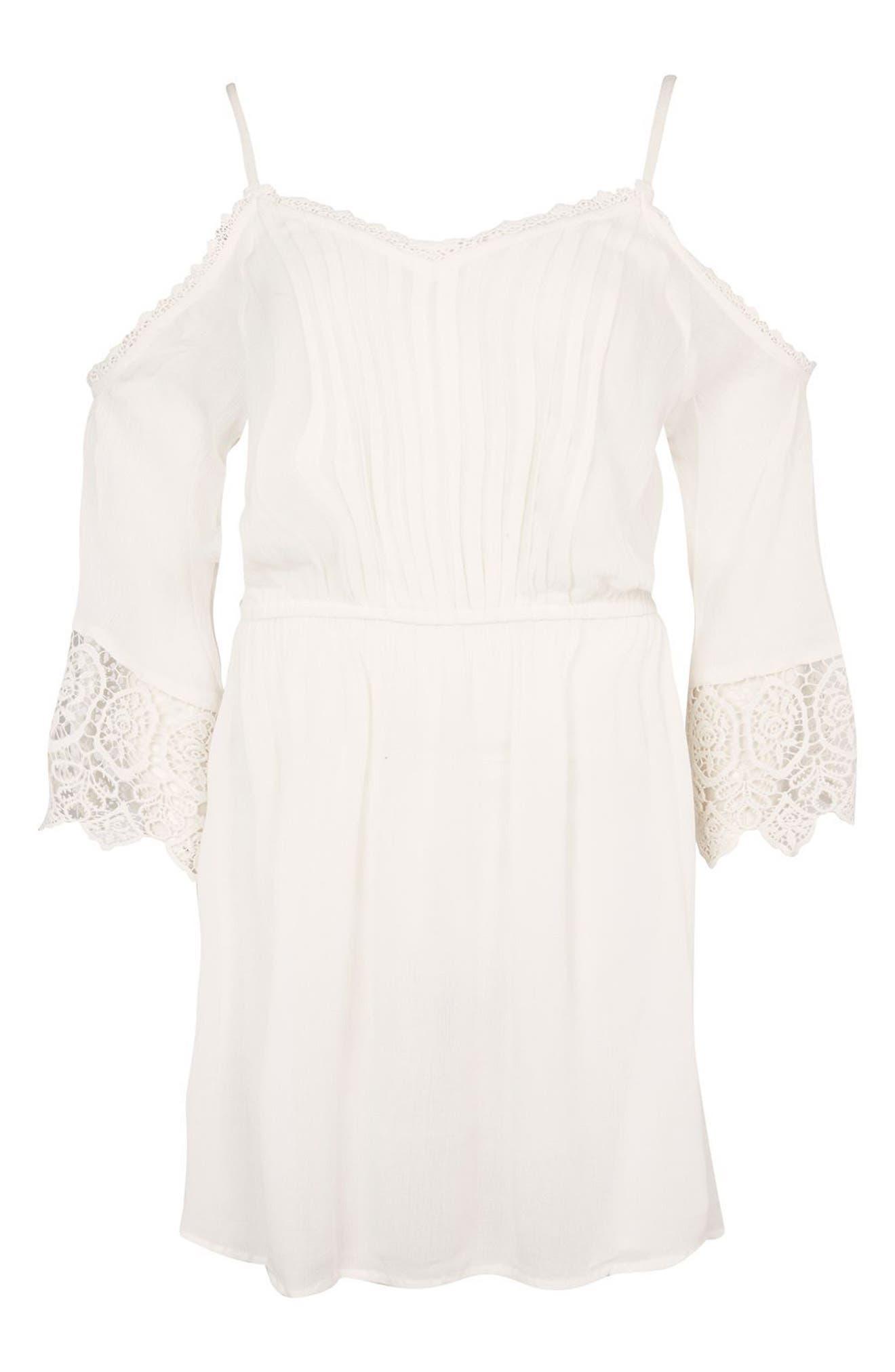 Alternate Image 3  - Topshop Lace Trim Cold Shoulder Dress