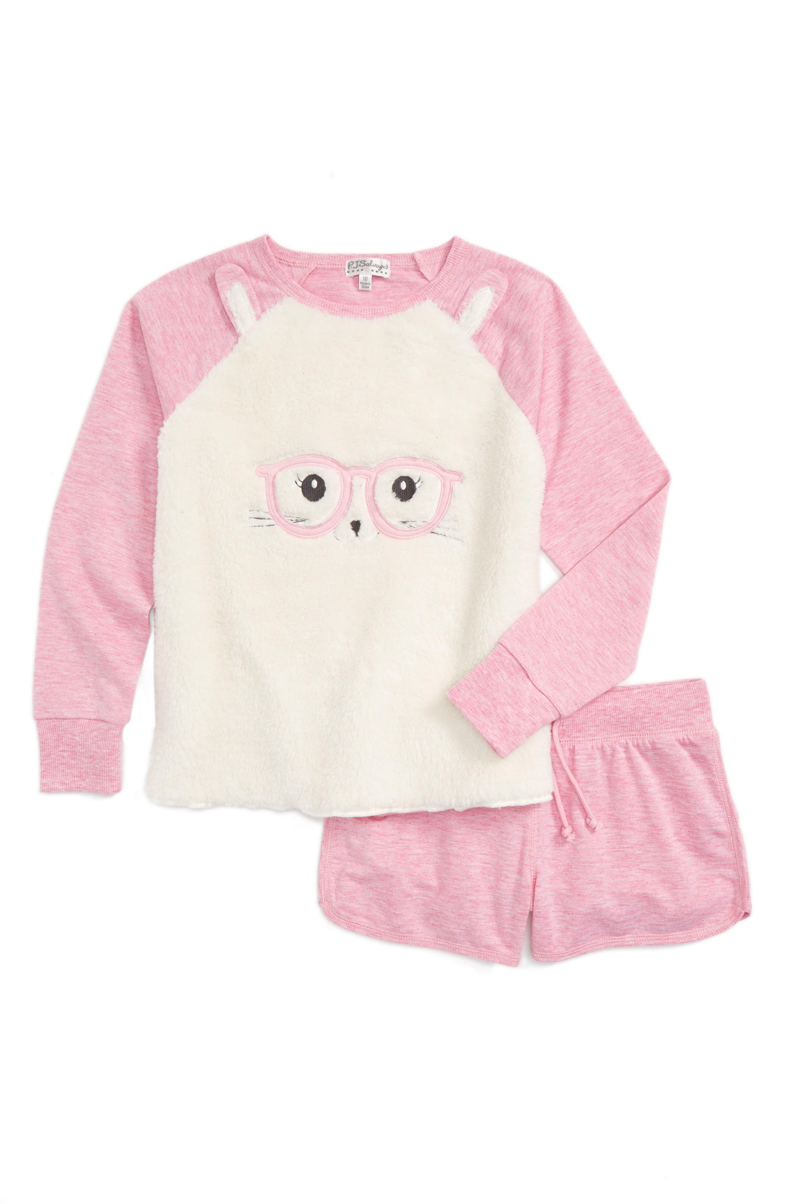 Main Image - PJ Salvage Patches Two-Piece Pajamas (Big Girls)
