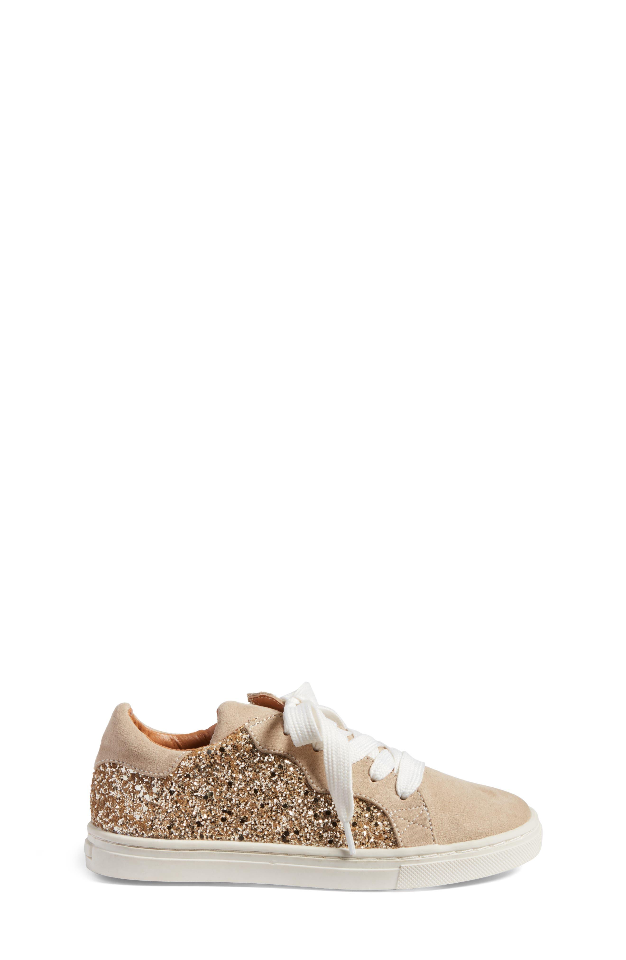 Zaida Low Top Sneaker,                             Alternate thumbnail 3, color,                             Gold Glitter