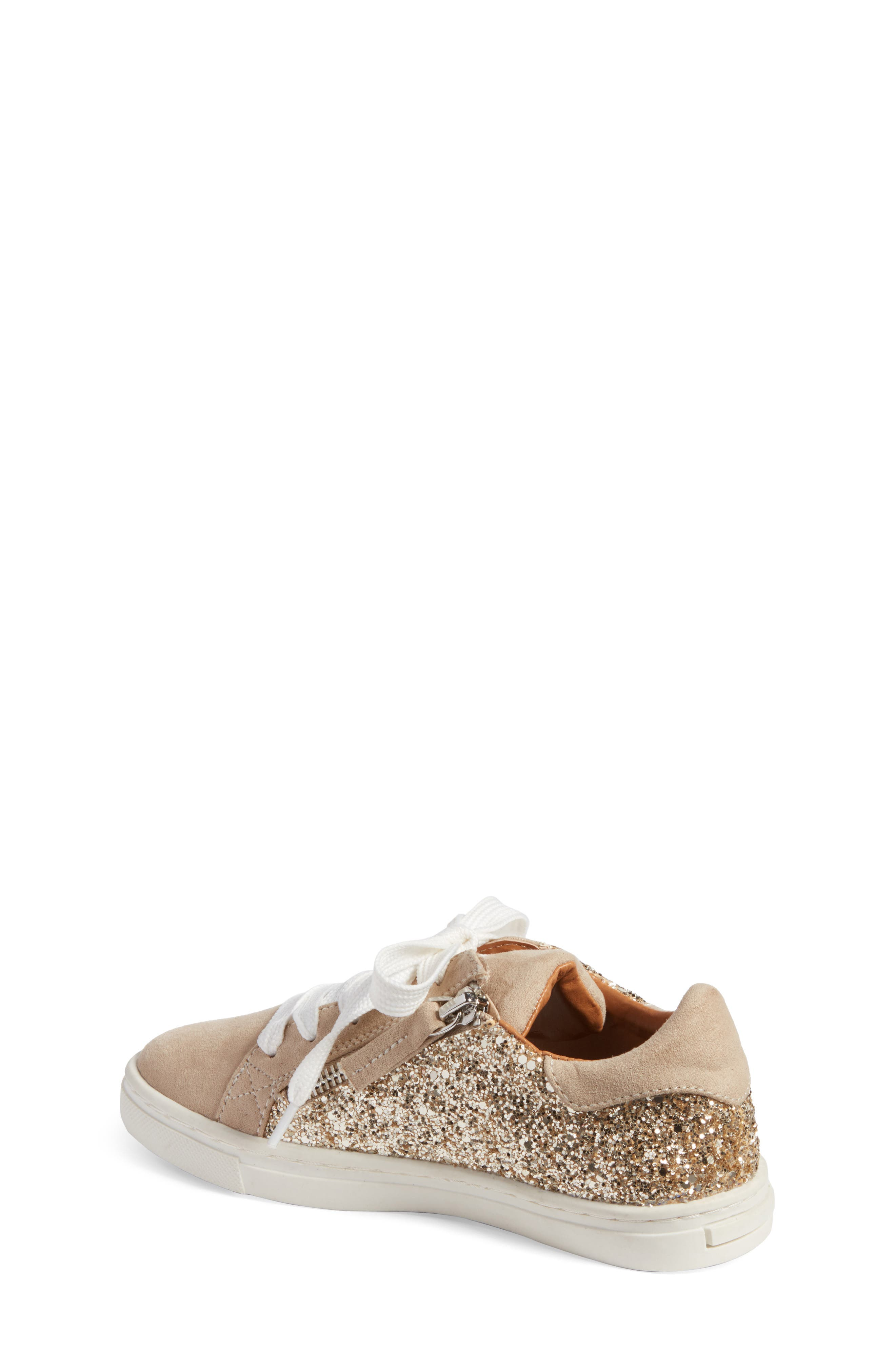 Zaida Low Top Sneaker,                             Alternate thumbnail 2, color,                             Gold Glitter