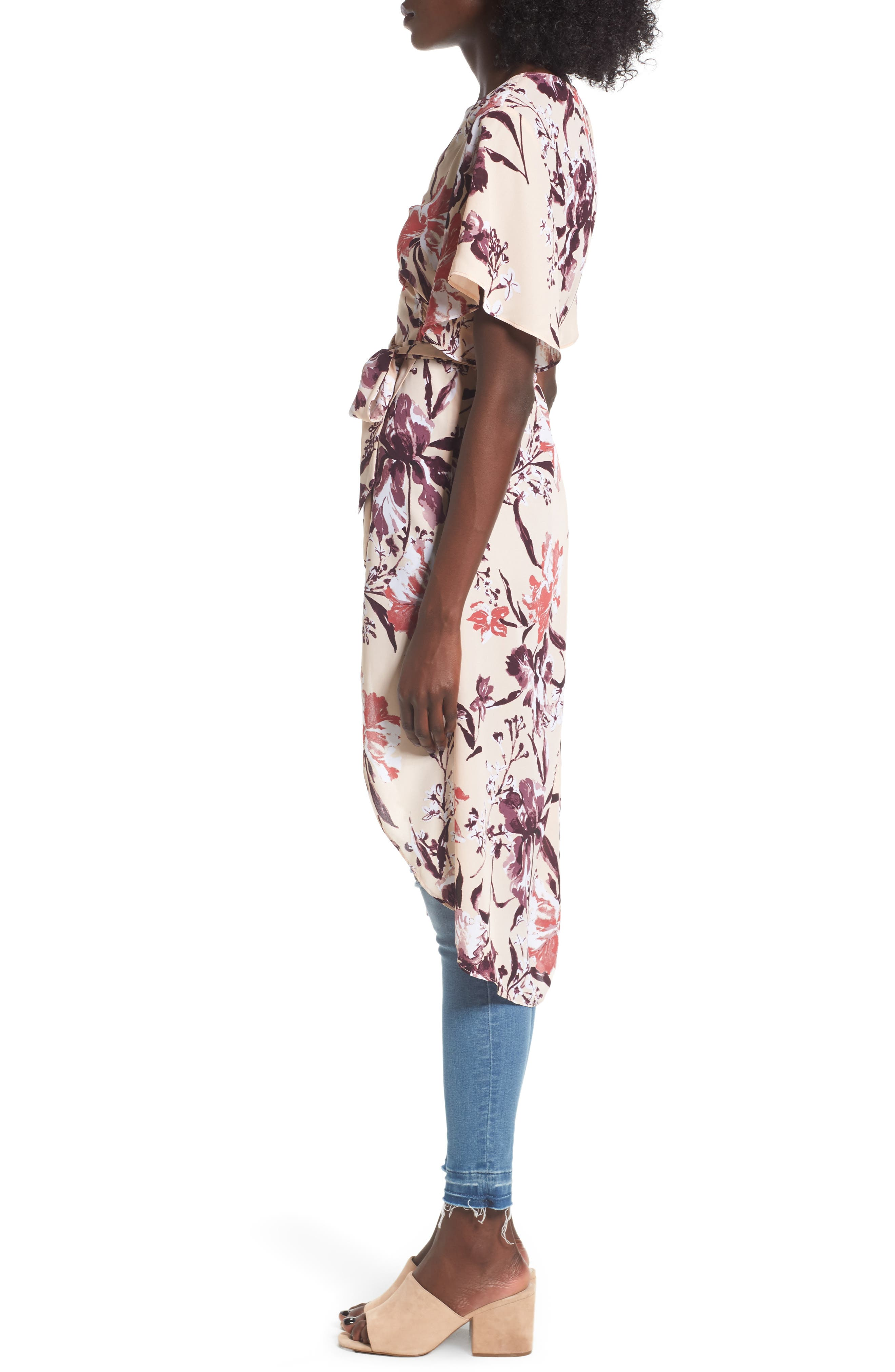 High/Low Wrap Tunic,                             Alternate thumbnail 3, color,                             Beige Dune Mixed Floral