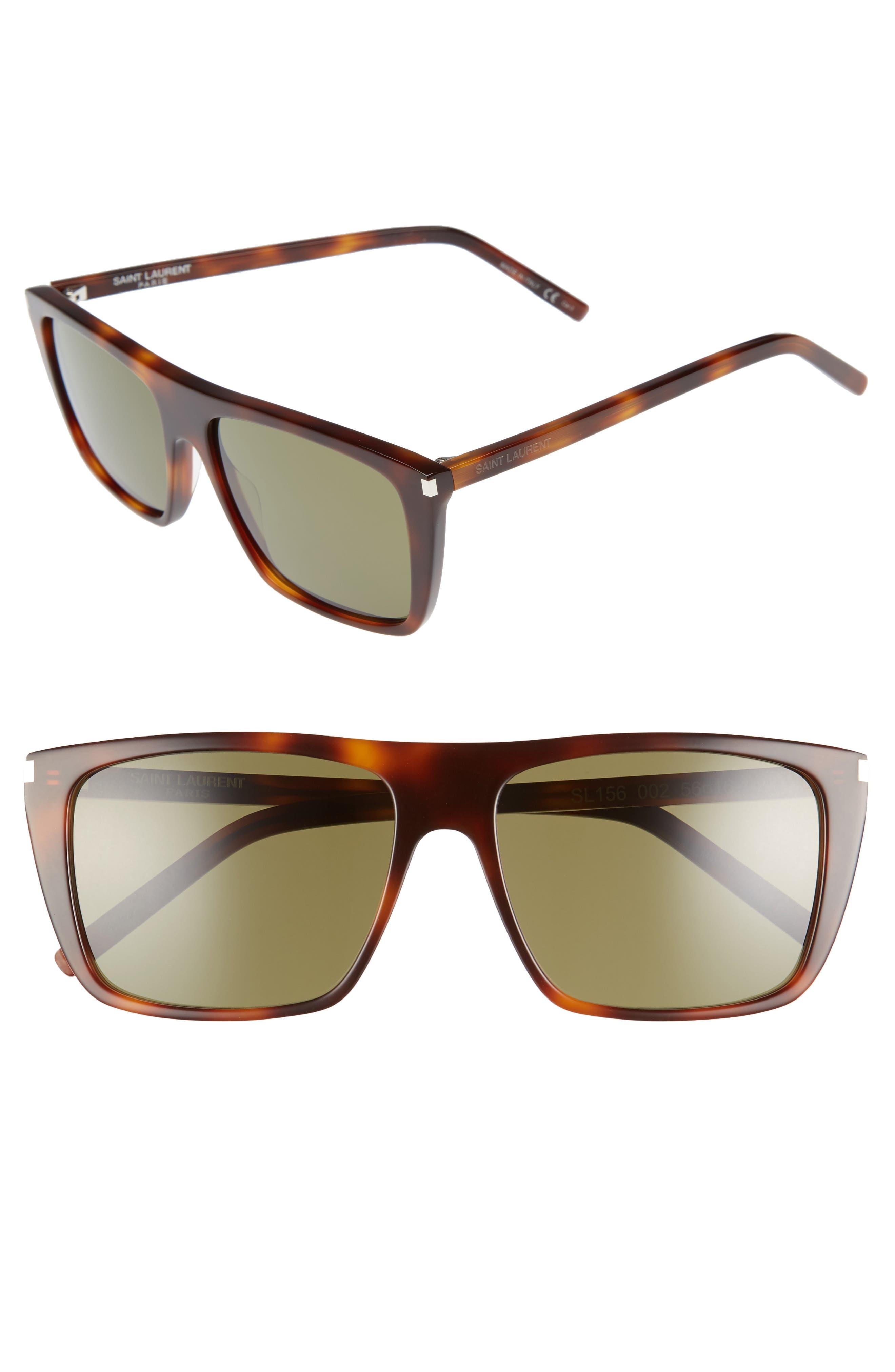 Avana 56mm Flat Top Sunglasses,                             Main thumbnail 1, color,                             Havana