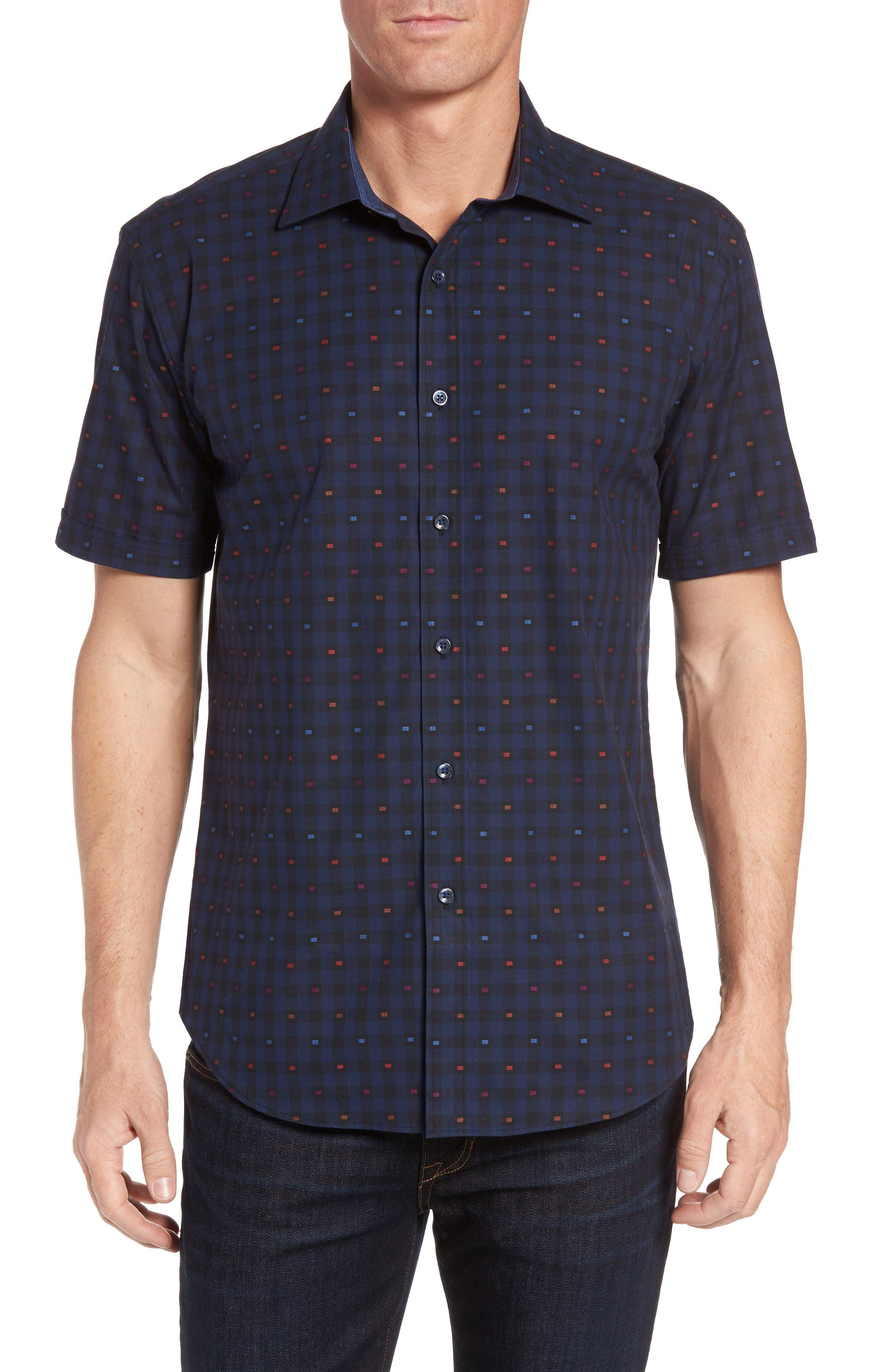 BUGATCHI Shaped Fit Optic Check Short Sleeve Sport Shirt