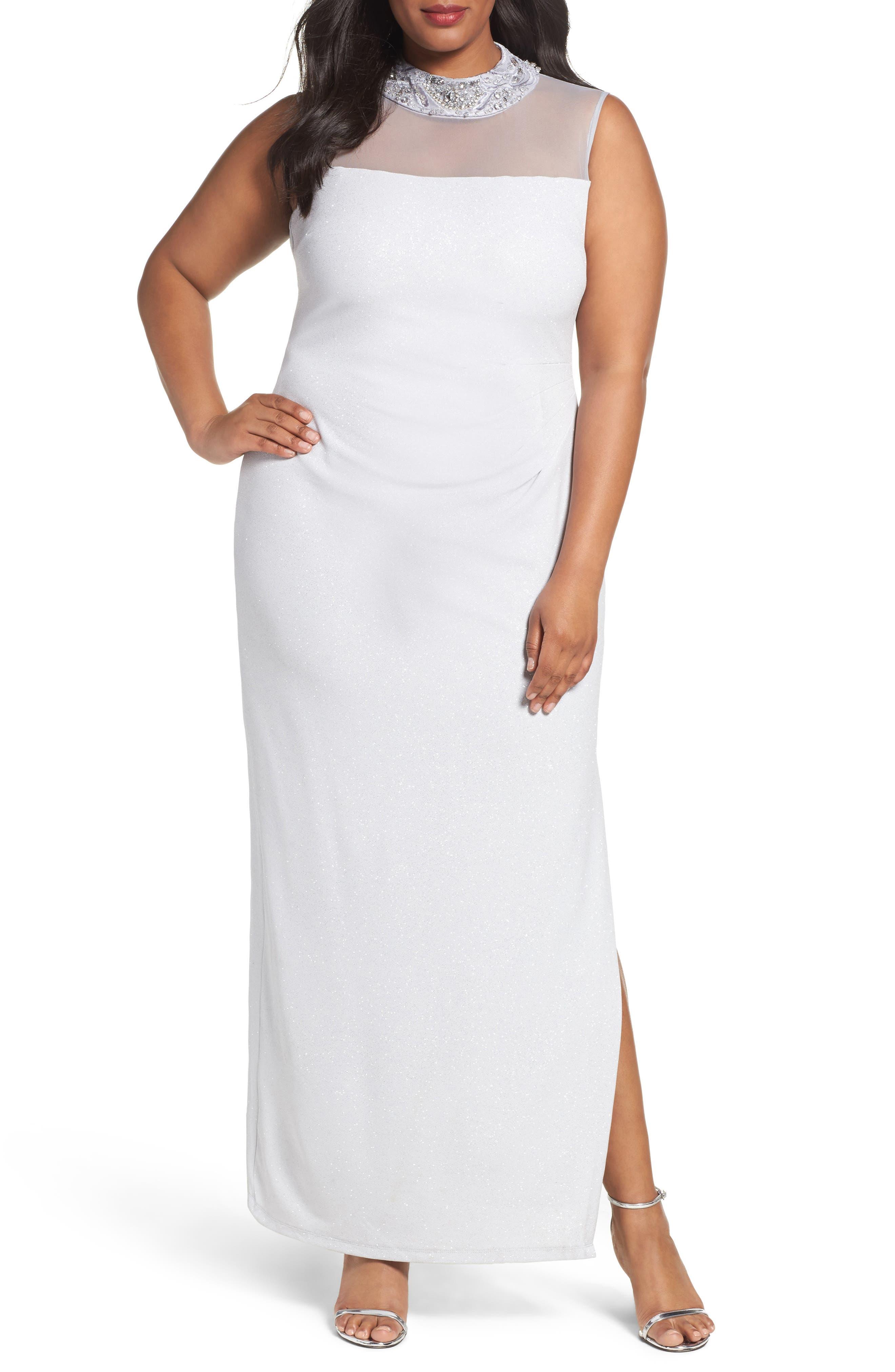 Main Image - Marina Glitter Ottoman Knit Sheath Gown (Plus Size)