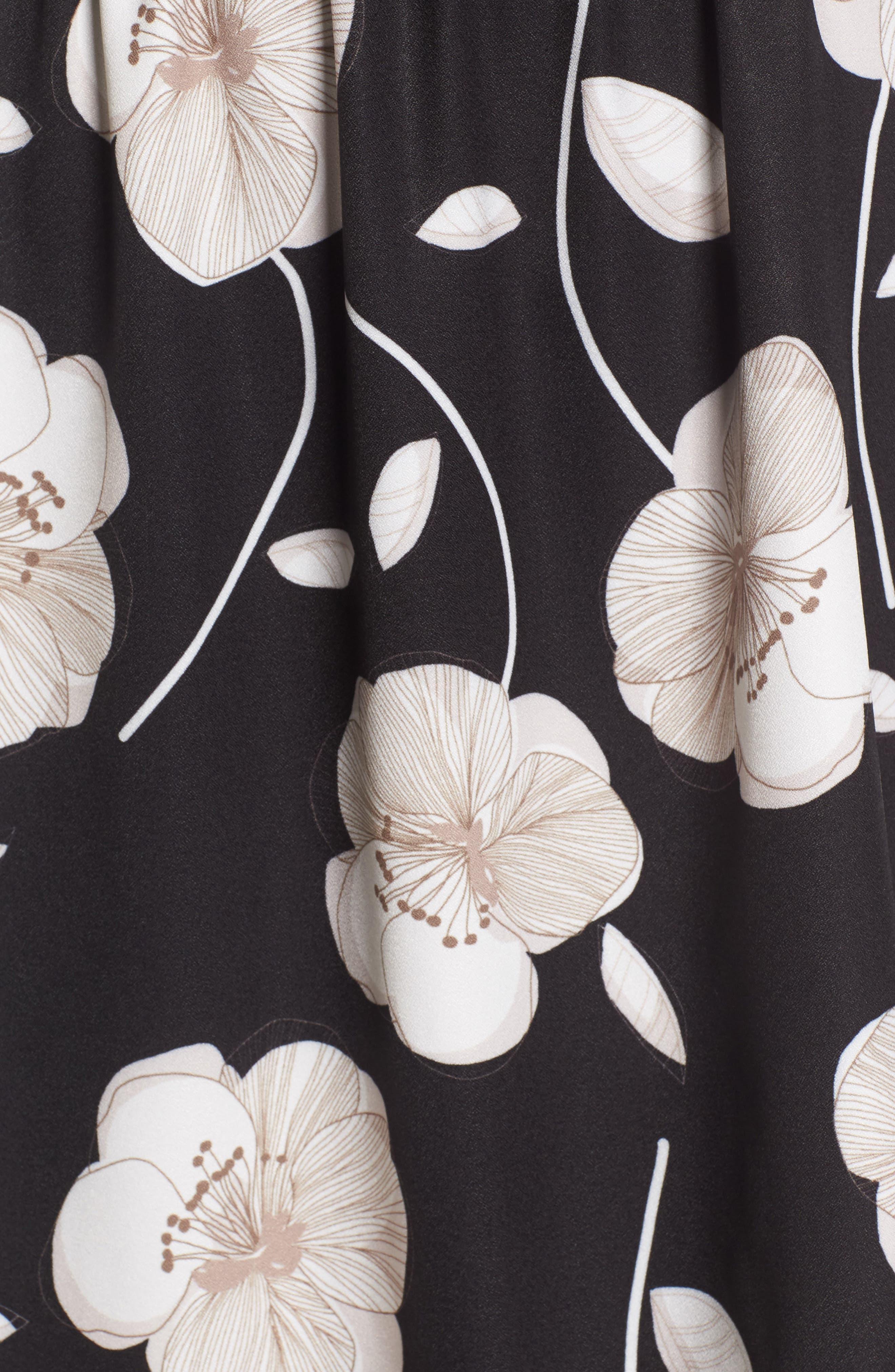 Cold Shoulder Asymmetrical Maxi Dress,                             Alternate thumbnail 5, color,                             Black