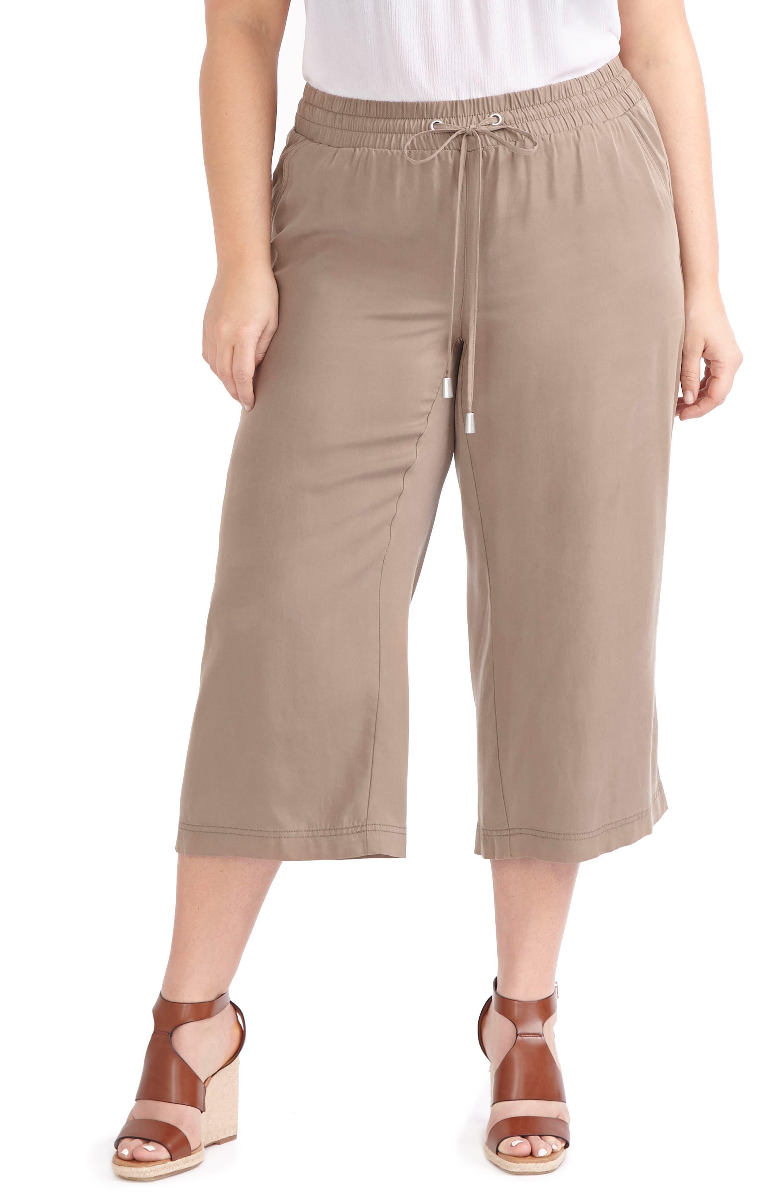 Alternate Image 1 Selected - ADDITION ELLE LOVE AND LEGEND Wide Leg Capri Pants (Plus Size)