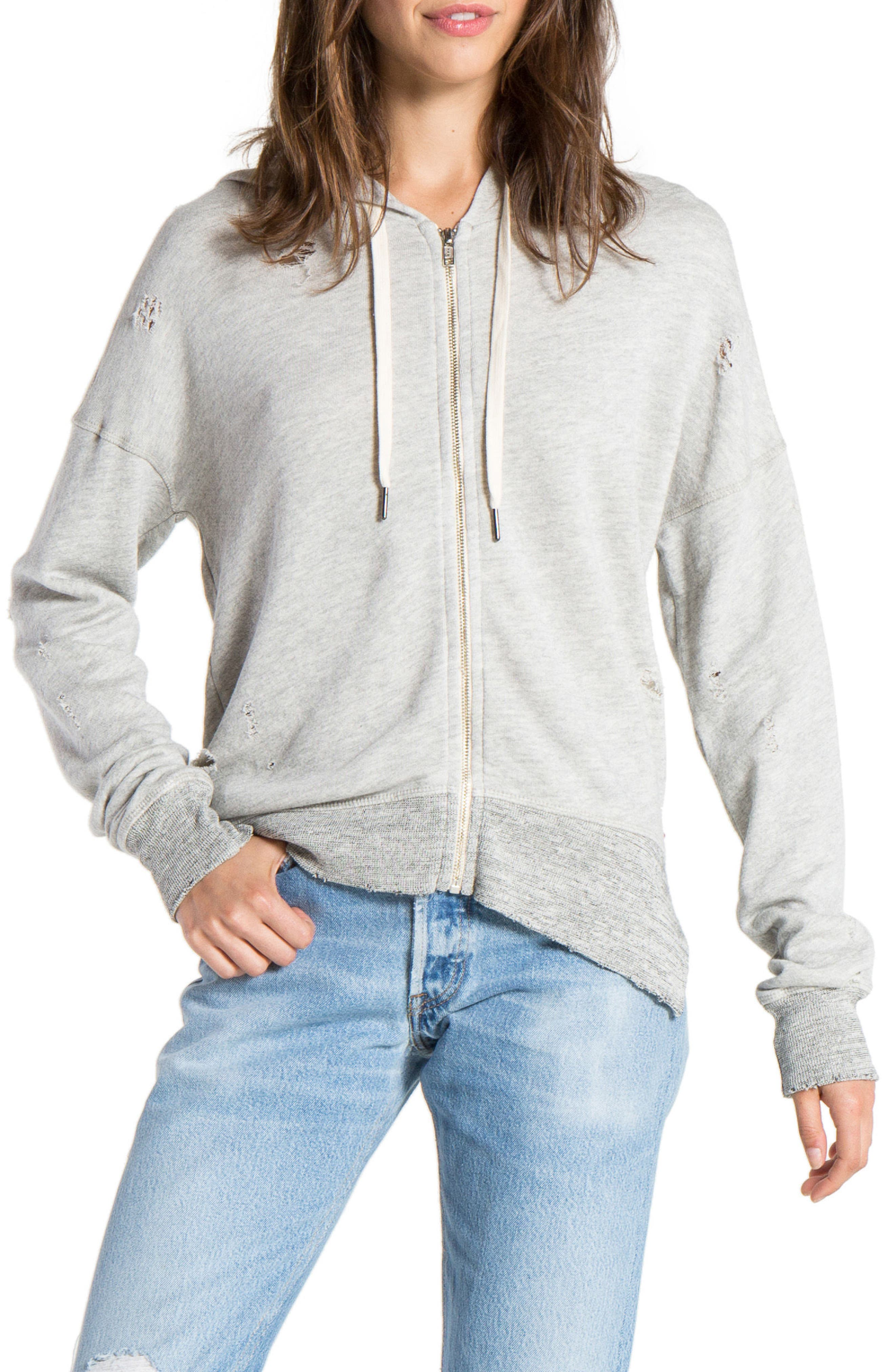 n: PHILANTHROPY Distressed Hooded Sweatshirt,                             Main thumbnail 1, color,                             Heather Grey