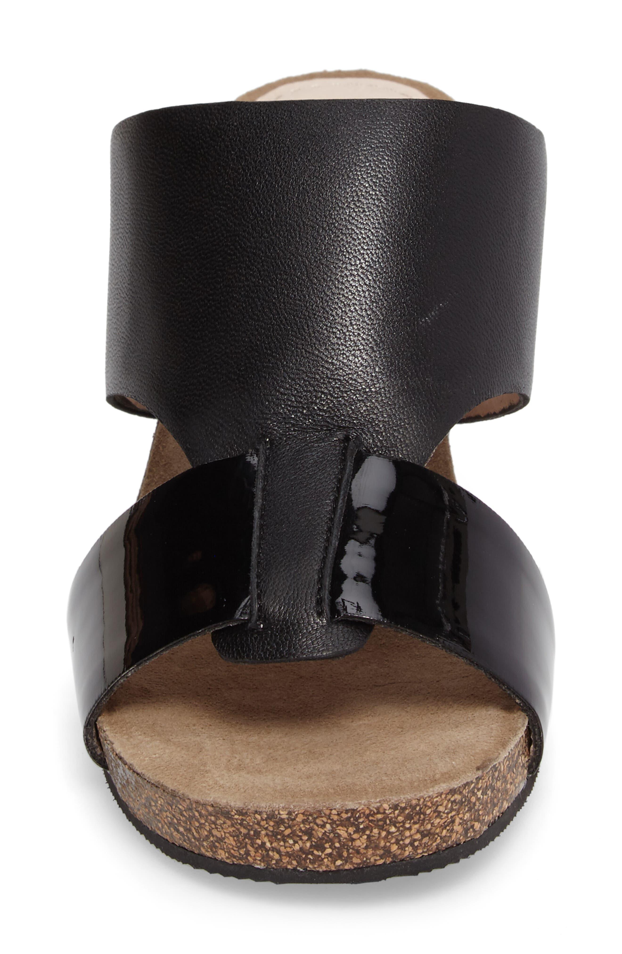 Berta Wedge Sandal,                             Alternate thumbnail 5, color,                             Black Leather