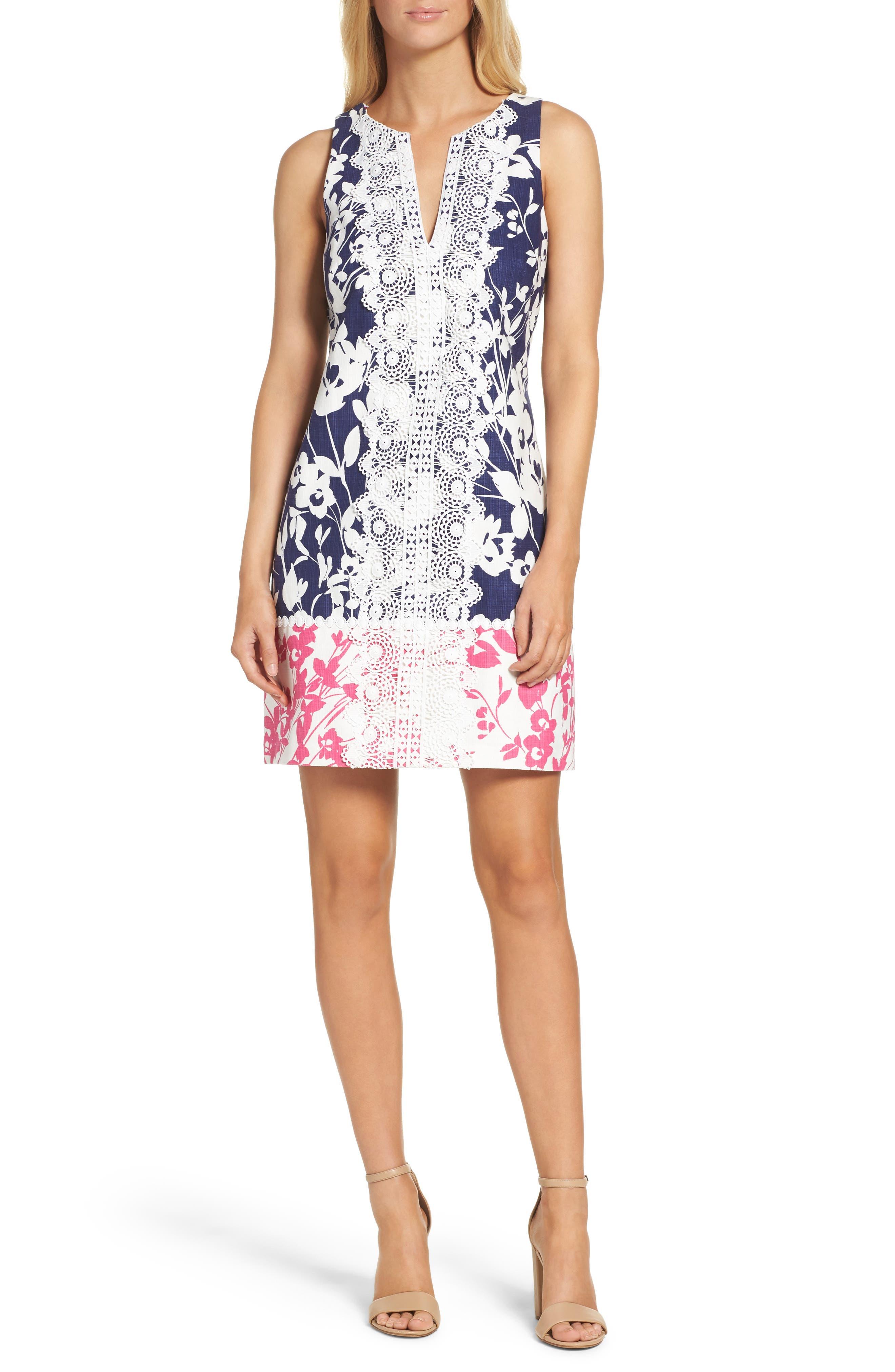 Stretch Cotton A-Line Dress,                         Main,                         color, Navy/ Pink