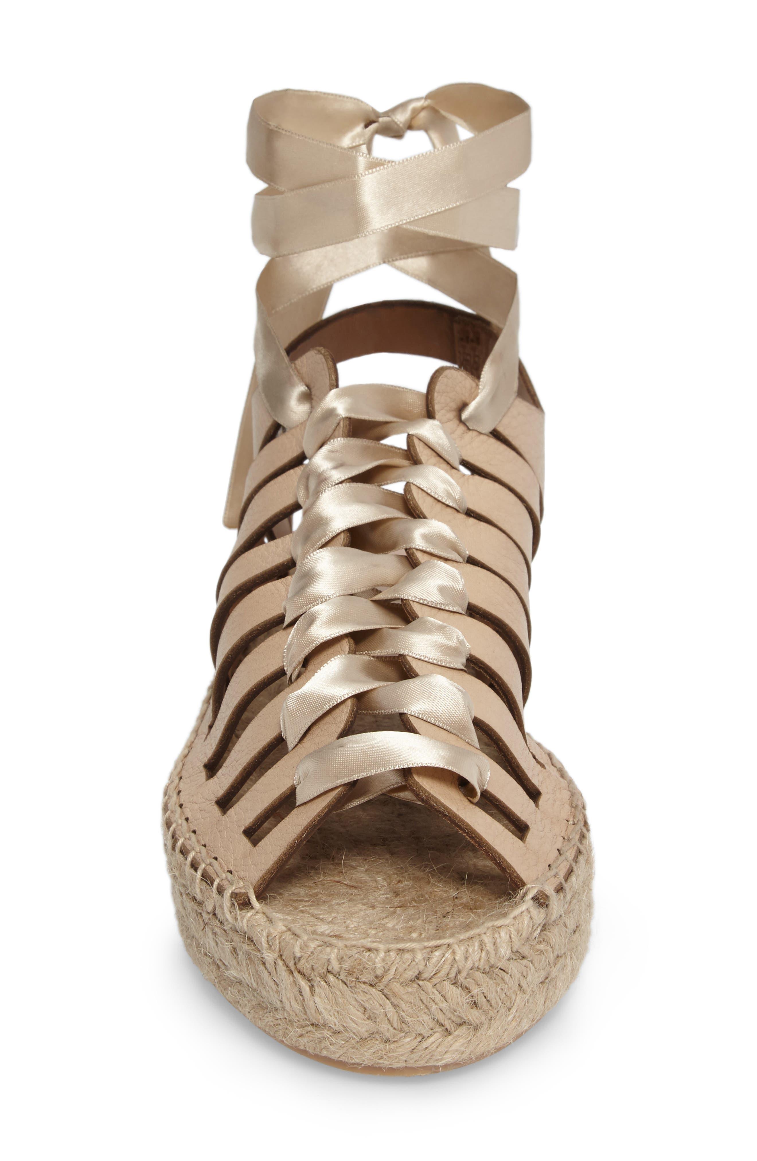 Krown Wraparound Platform Sandal,                             Alternate thumbnail 4, color,                             Nude Leather
