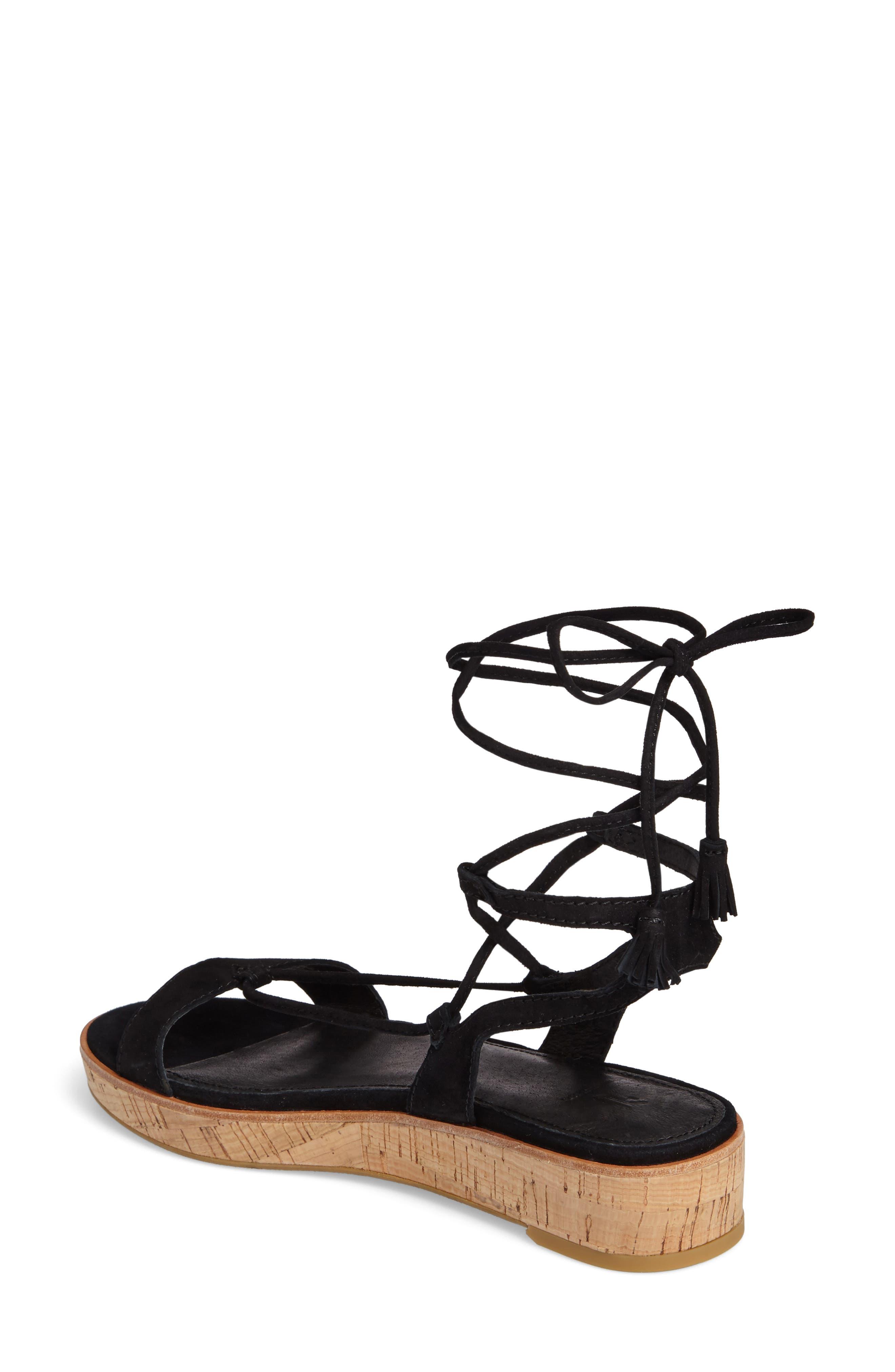Miranda Gladiator Platform Sandal,                             Alternate thumbnail 2, color,                             Black Suede
