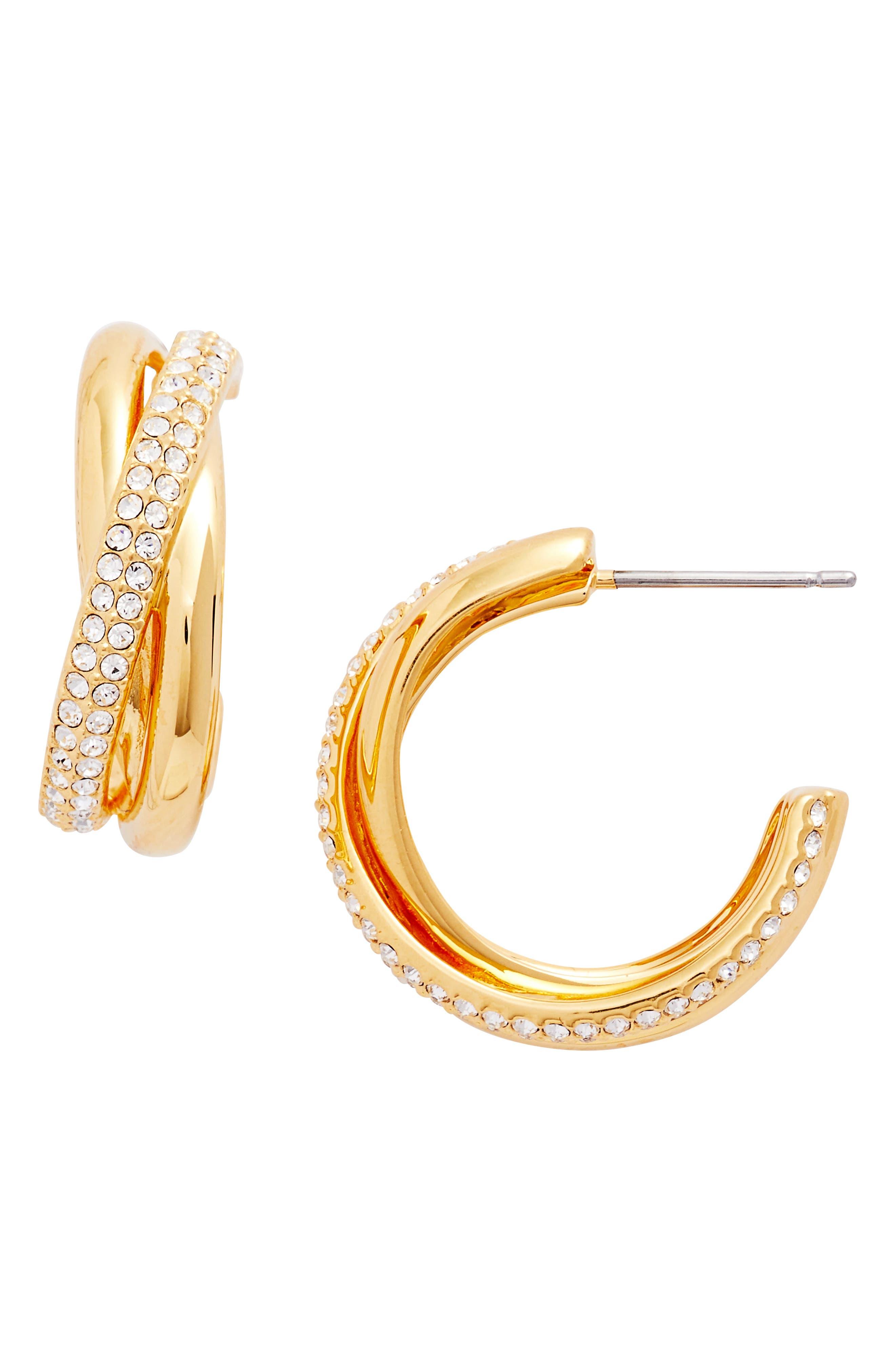 Trinity Pavé Hoop Earrings,                         Main,                         color, Gold