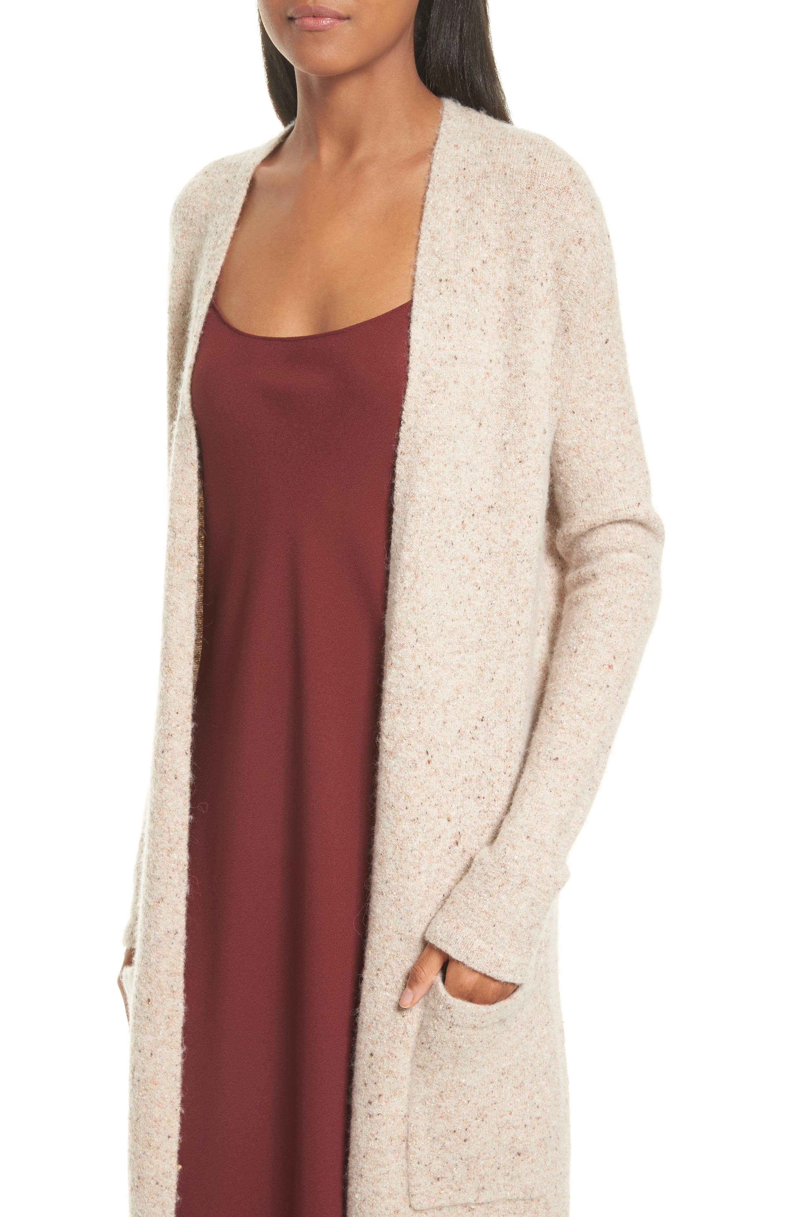 Torina Donegal Longline Cardigan,                             Alternate thumbnail 5, color,                             Oat Multi